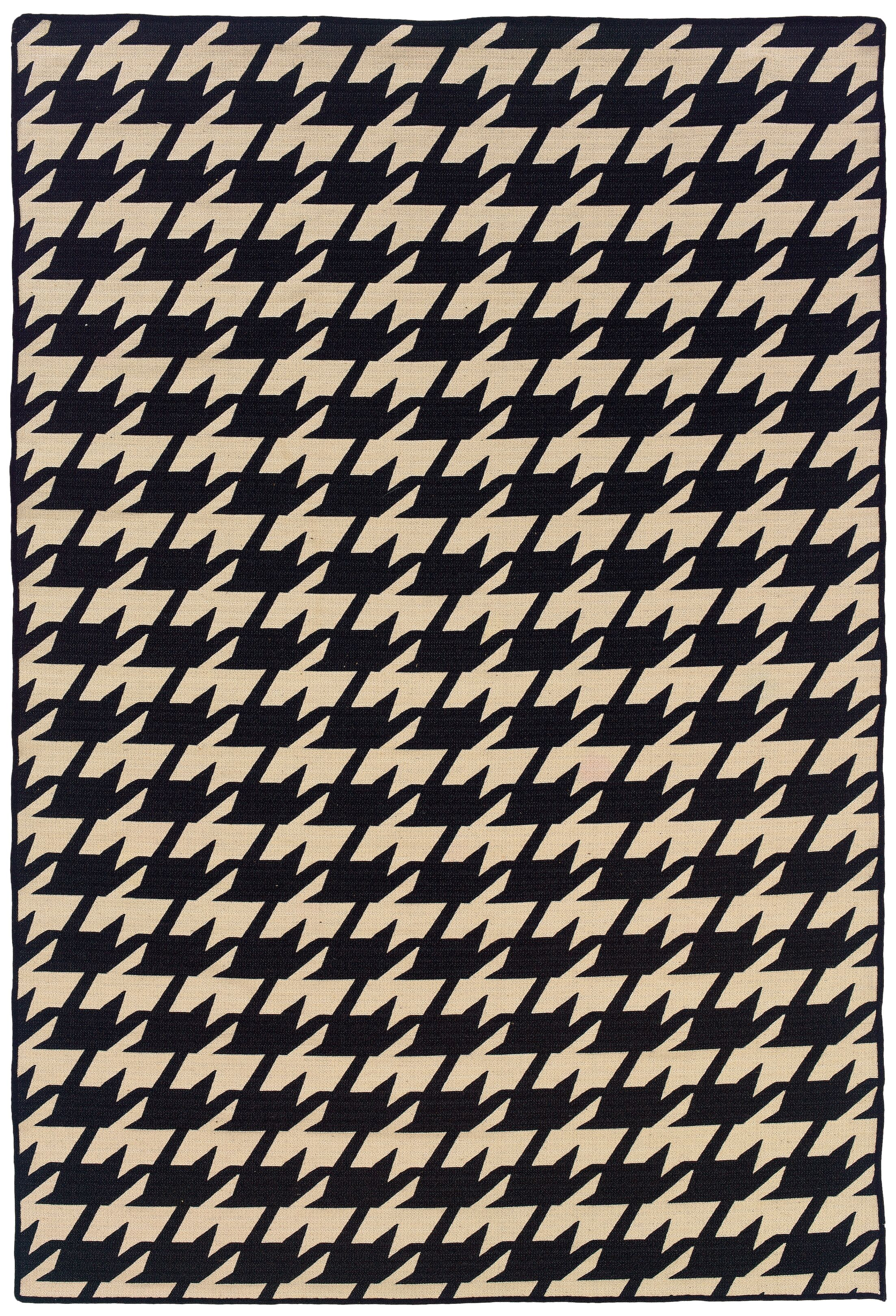 Destinee Traditional Hand-Tufted Black/Beige Area Rug Rug Size: 5' x 8'