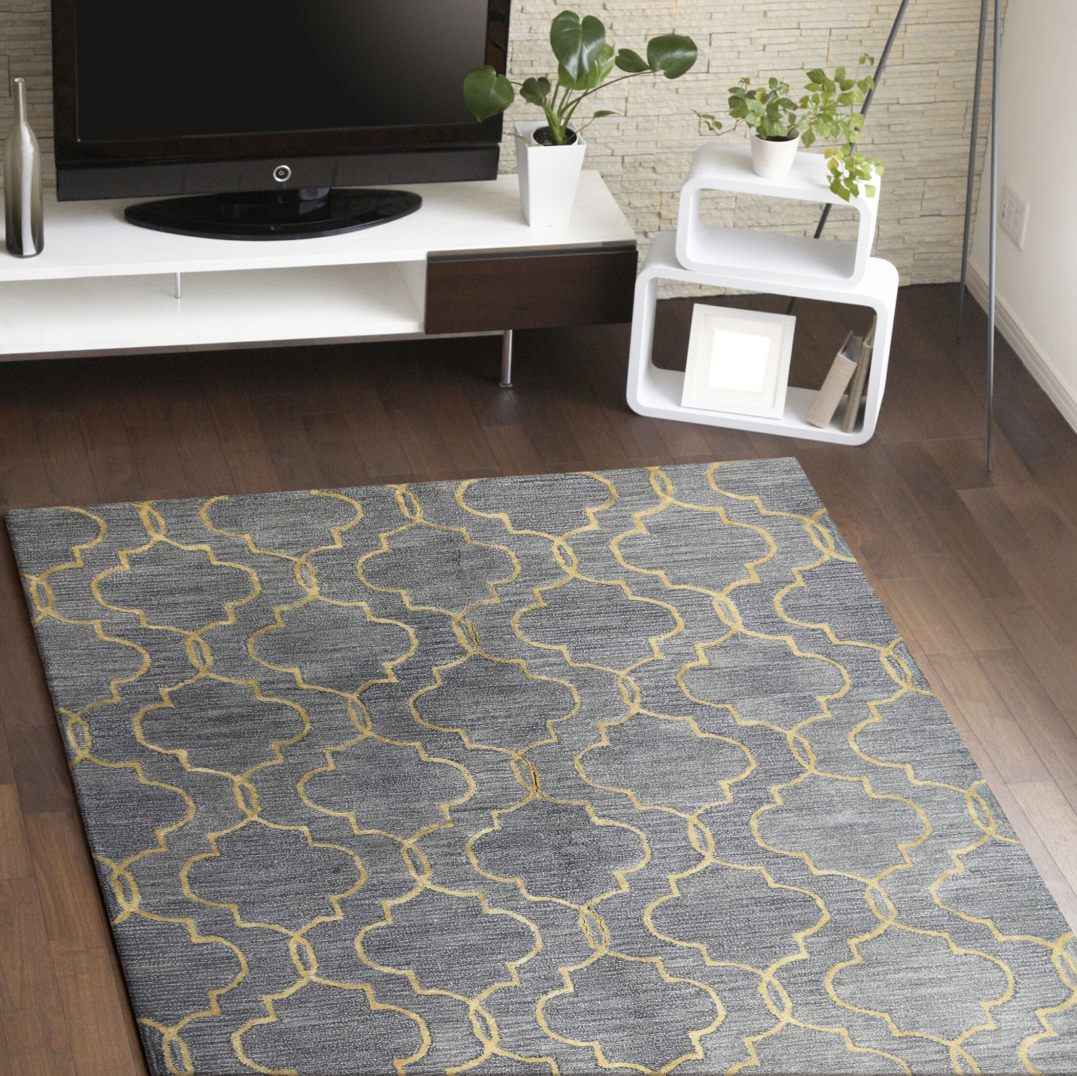 Valley Hand-Tufted Gray Area Rug Rug Size: 3'9