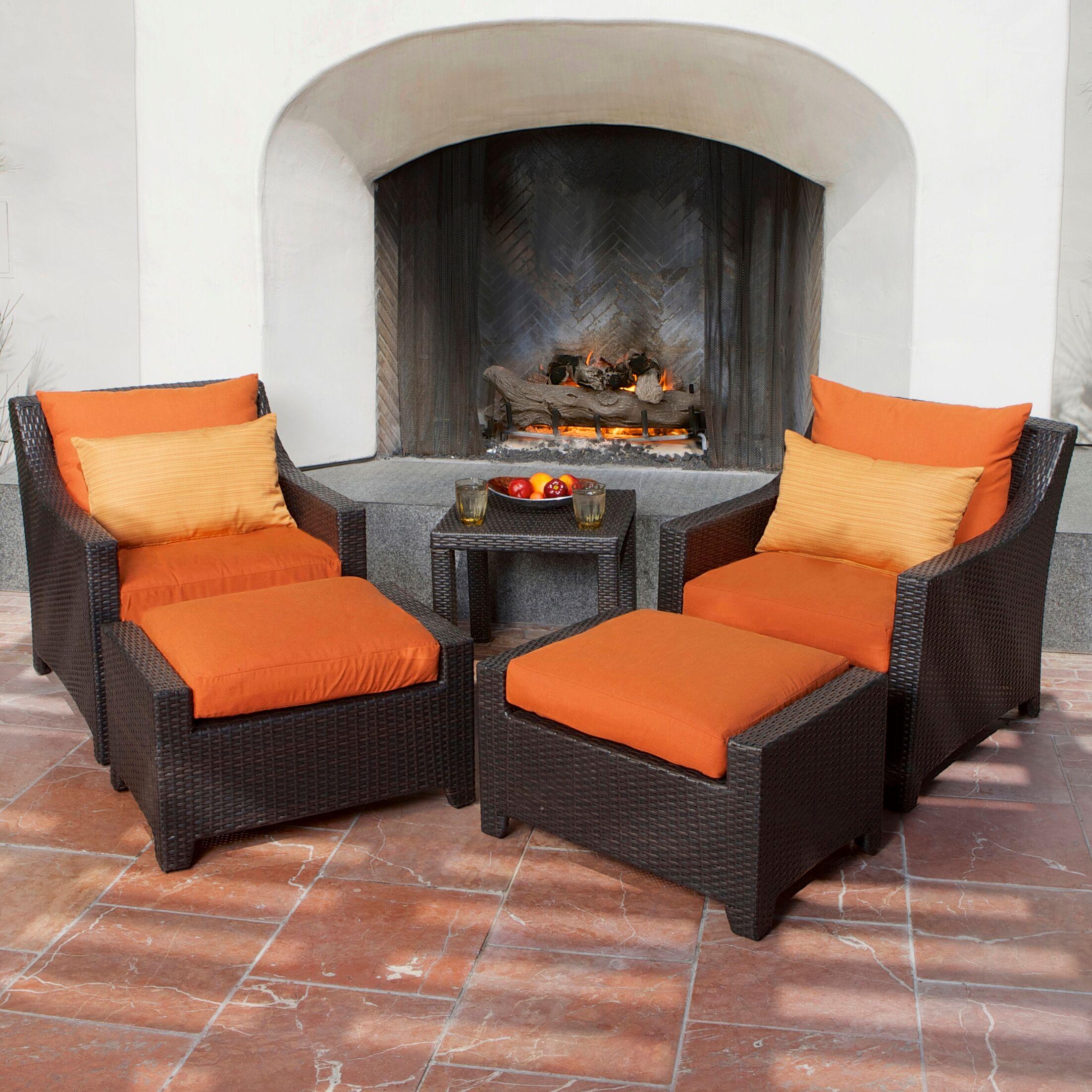 Northridge 5 Piece Conversation Set with Cushions Fabric: Tika Orange