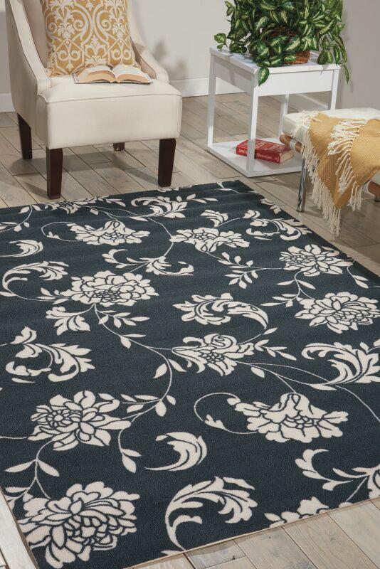 Kristine Black/Ivory Indoor/Outdoor Area Rug Rug Size: Rectangle 7'9