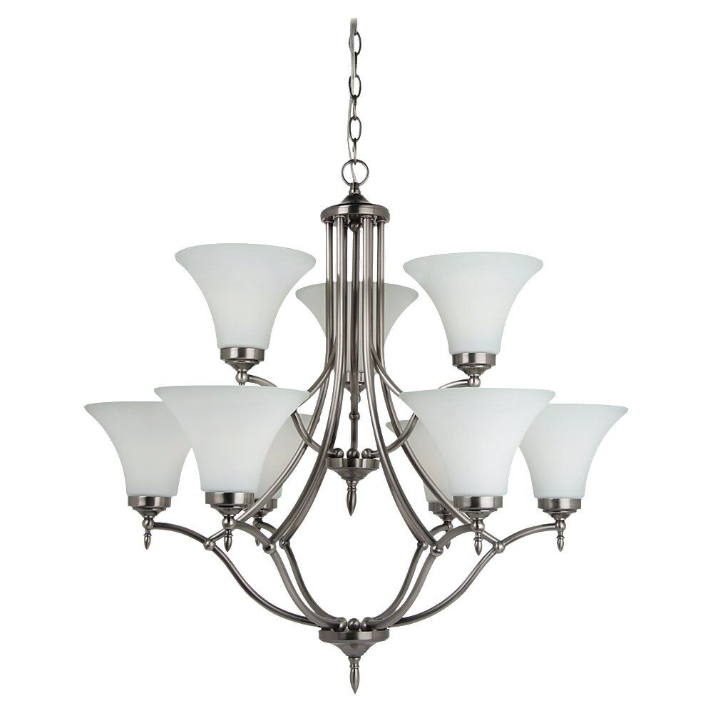 Sowders 9-Light Shaded Chandelier Bulb Type: 100W A-19 Medium, Finish: Antique Brushed Nickel, Shade Color: Etched/White Inside