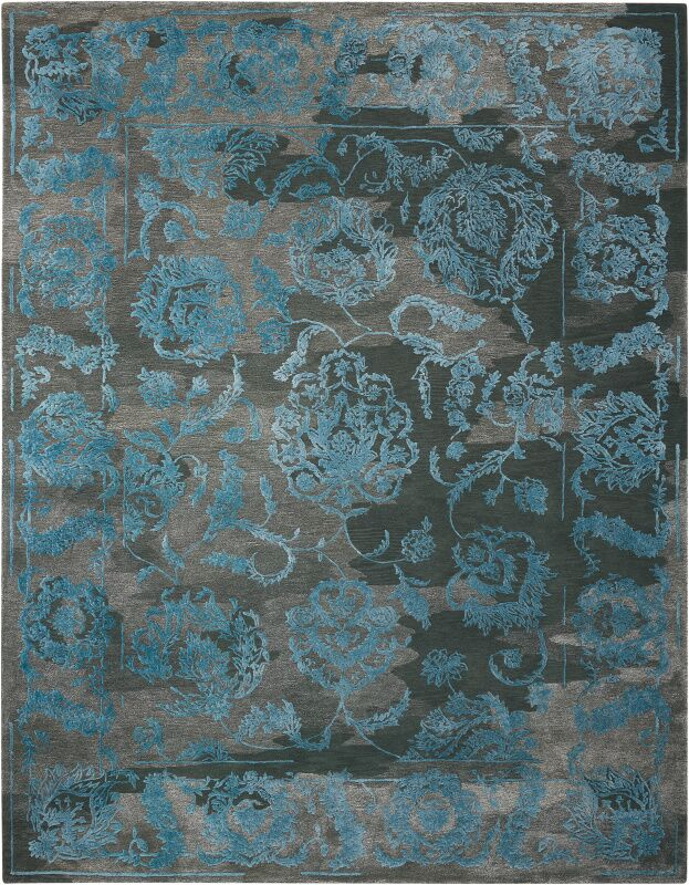 Annabel Hand-Woven Charcoal/Blue Area Rug Rug Size: 9'9
