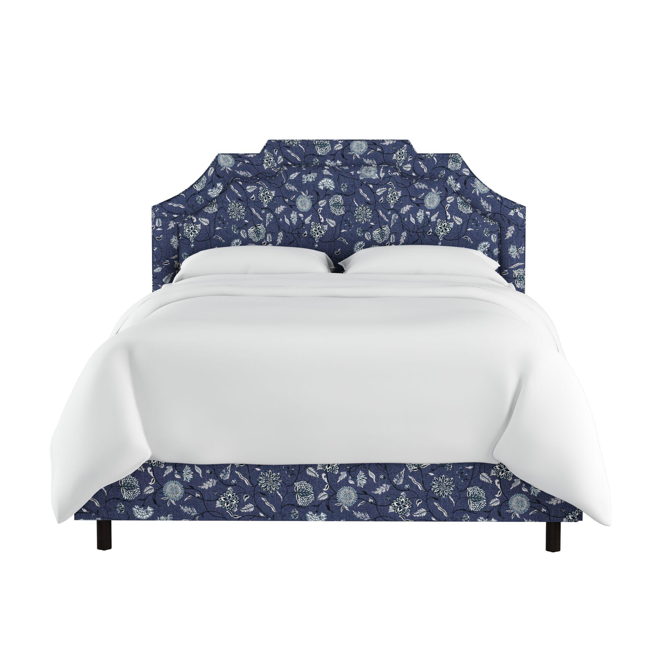 Edmondson Linen Upholstered Panel Bed Size: King, Color: Blue