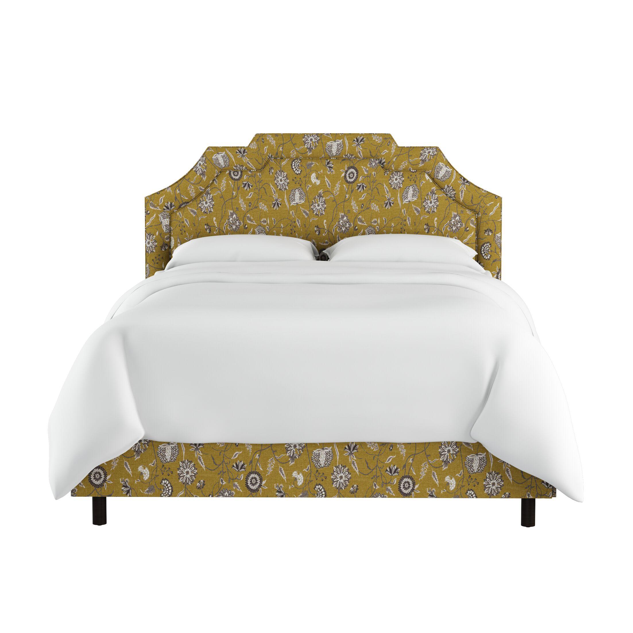 Edmondson Linen Upholstered Panel Bed Size: King, Color: Yellow