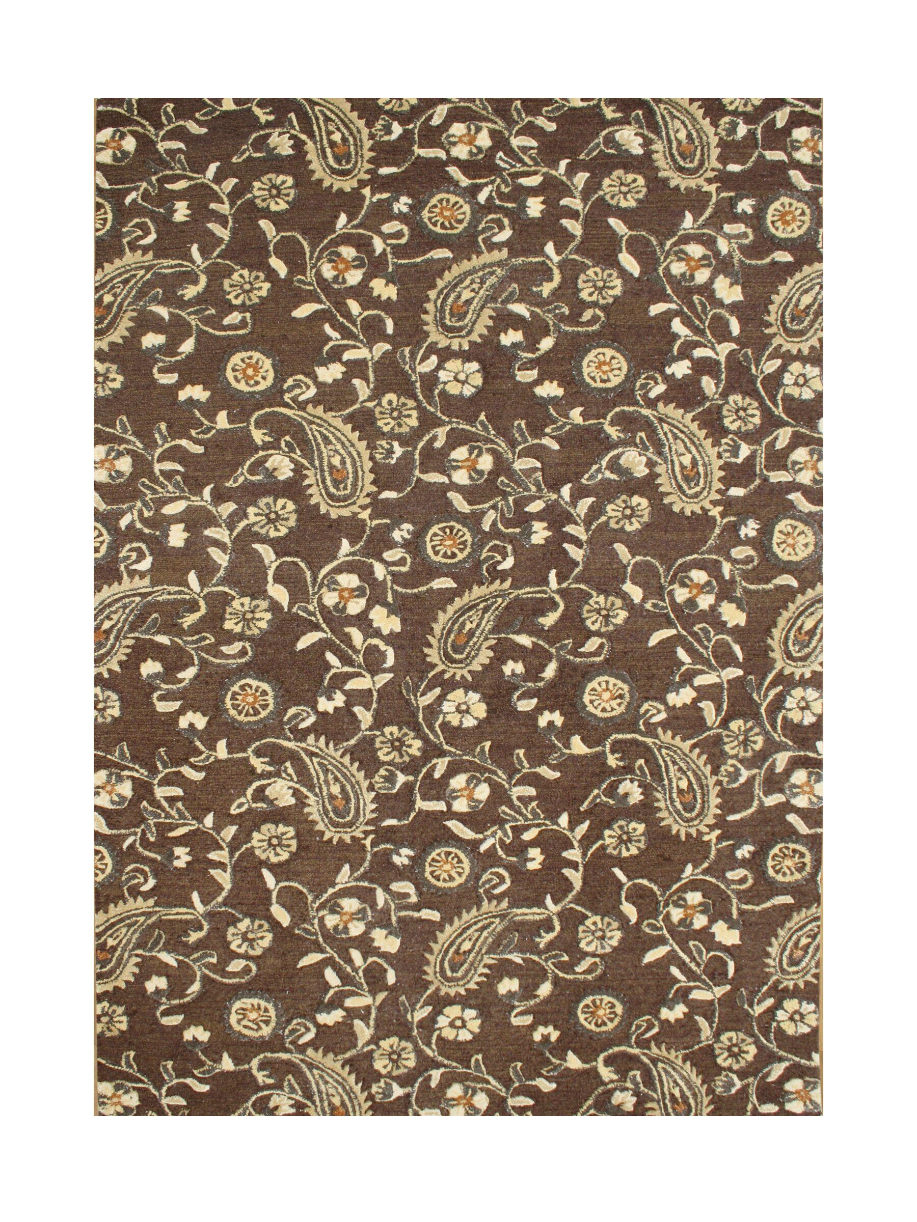 Heathcote Gray Hand-Tufted Tobacco Brown Area Rug Rug Size: 8' x 10'