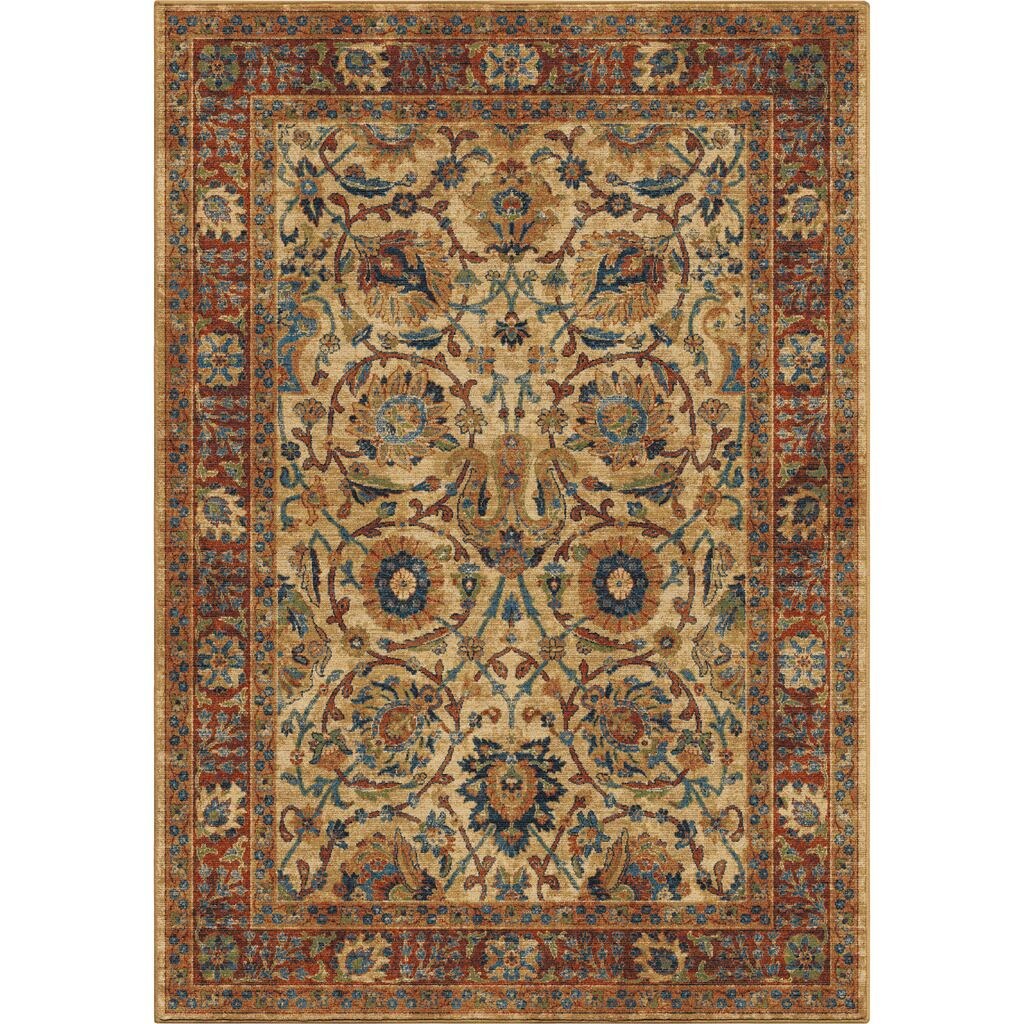 Lilah Moroccan Beige/Red/Blue Area Rug Rug Size: 7'10