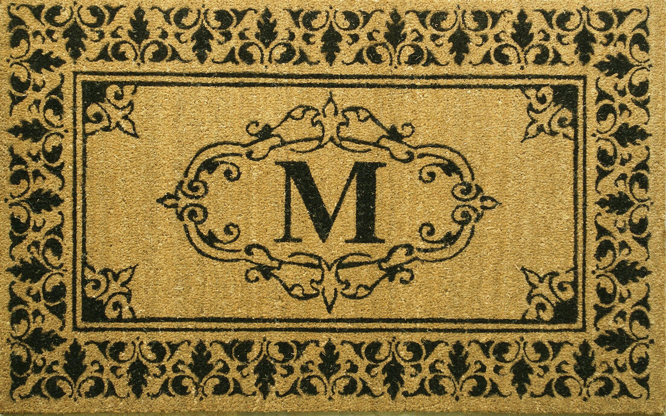 Secrist Letter Doormat Mat Size: 3' x 6', Letter: M