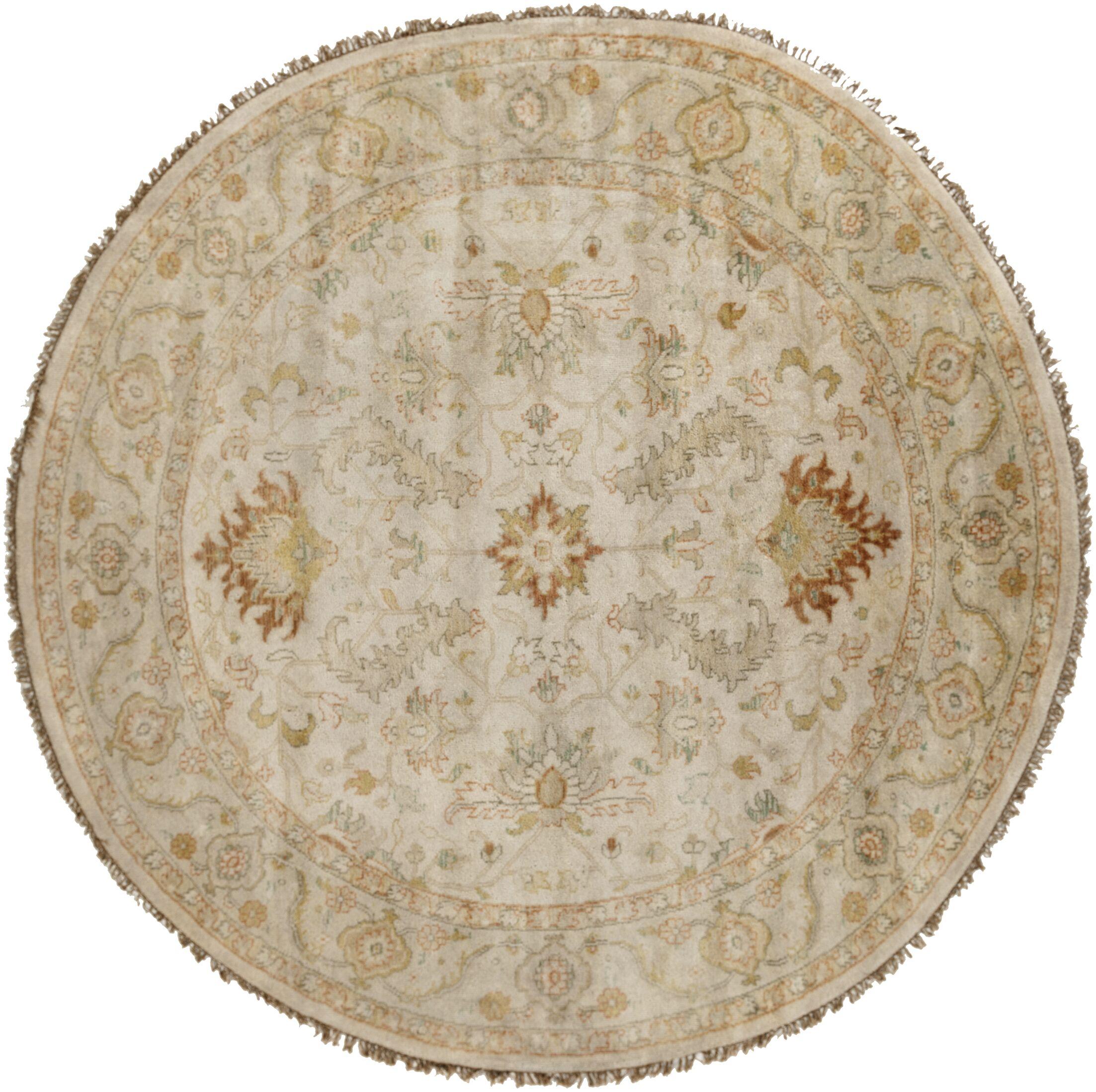 Bargamin Oriental Beige Area Rug Rug Size: Round 8'