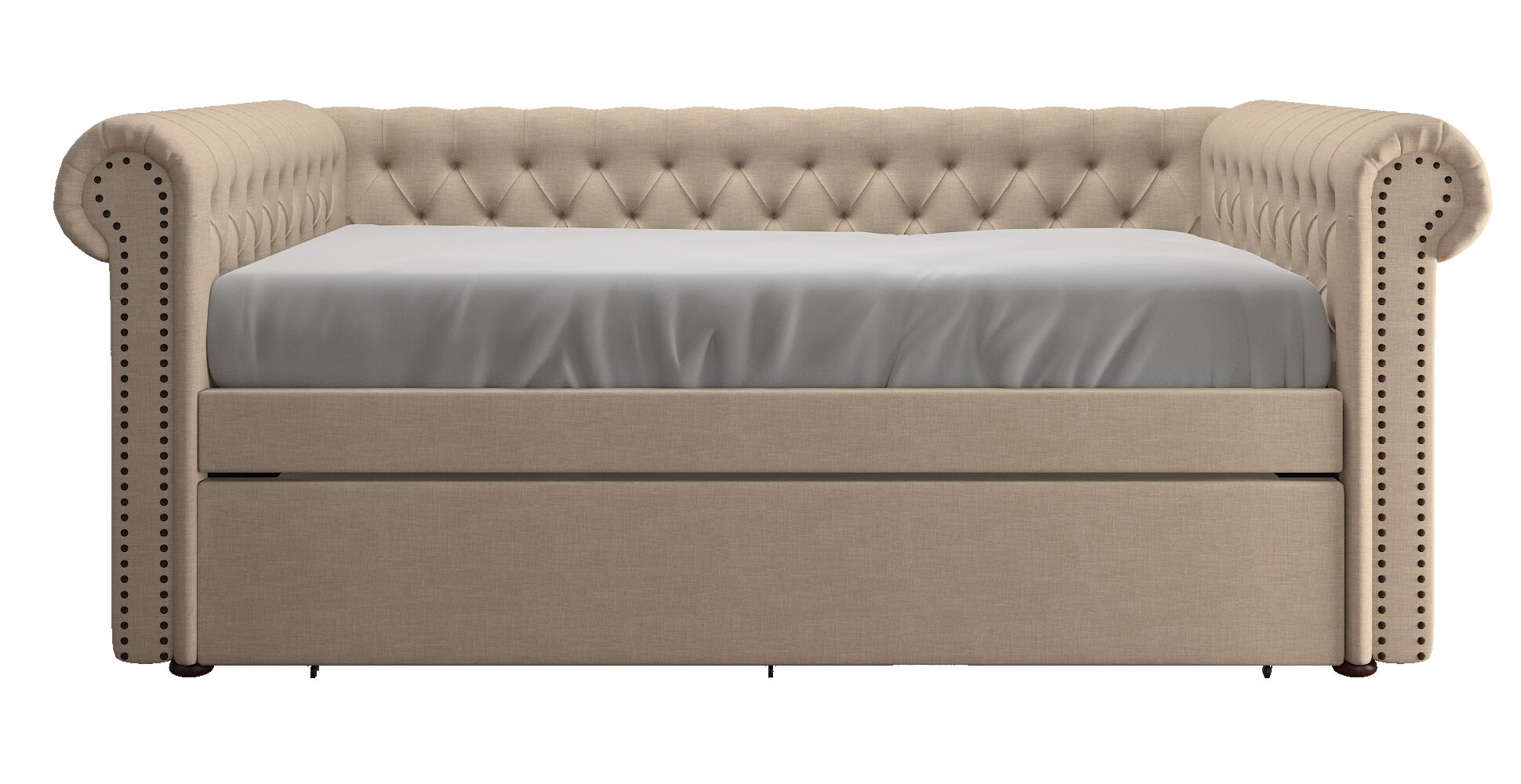 Full Gowans Button Tufted Linen Daybed Color: Beige