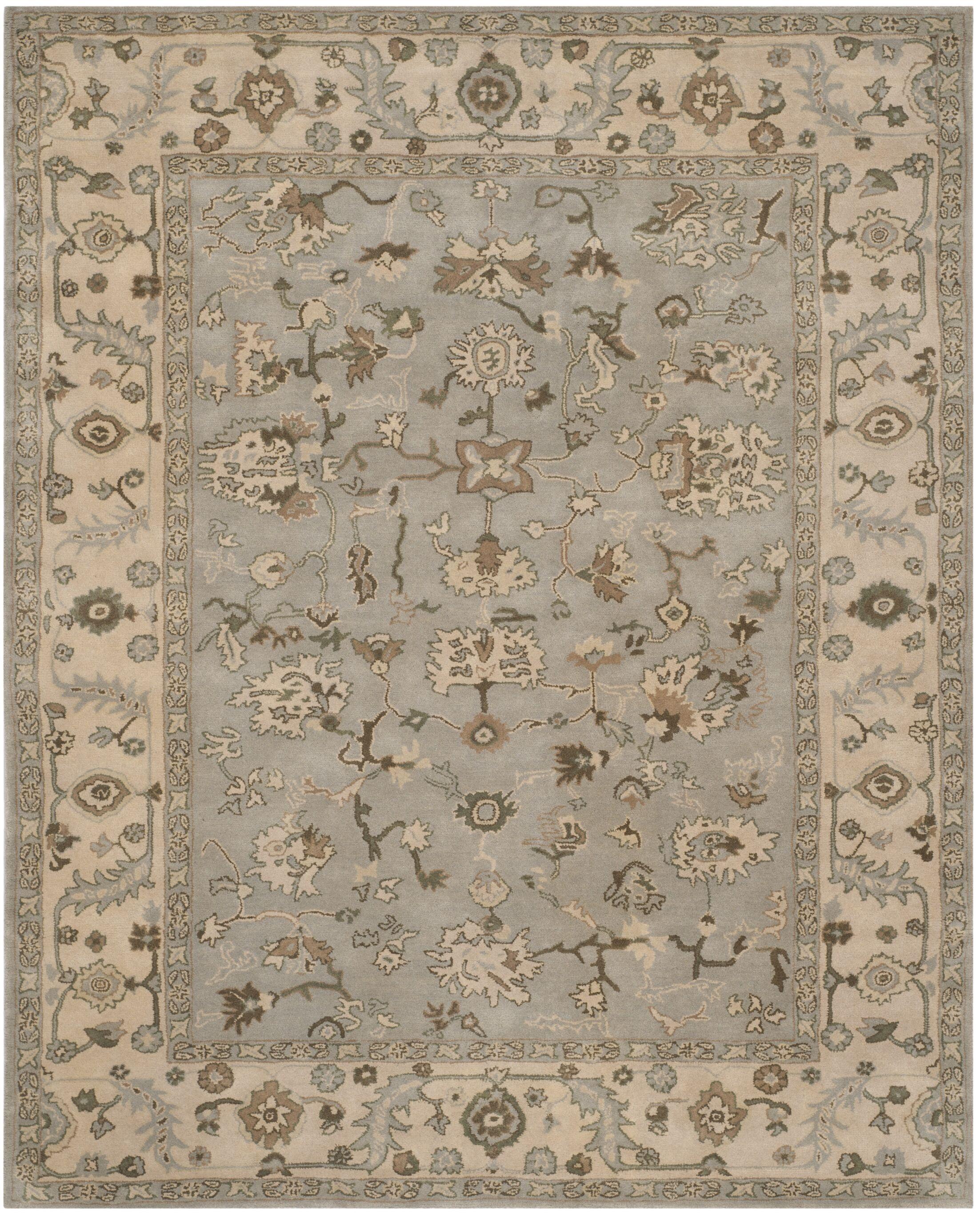 Meriden Hand-Woven Wool Beige/Grey Area Rug Rug Size: Round 6'