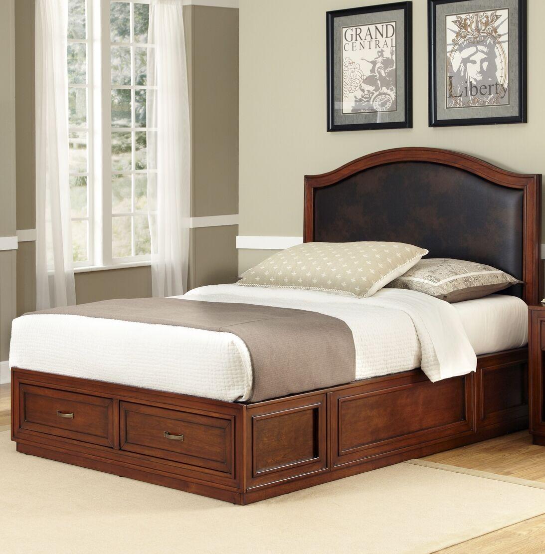Myra Queen Upholstered Platform Bed Color: Cherry