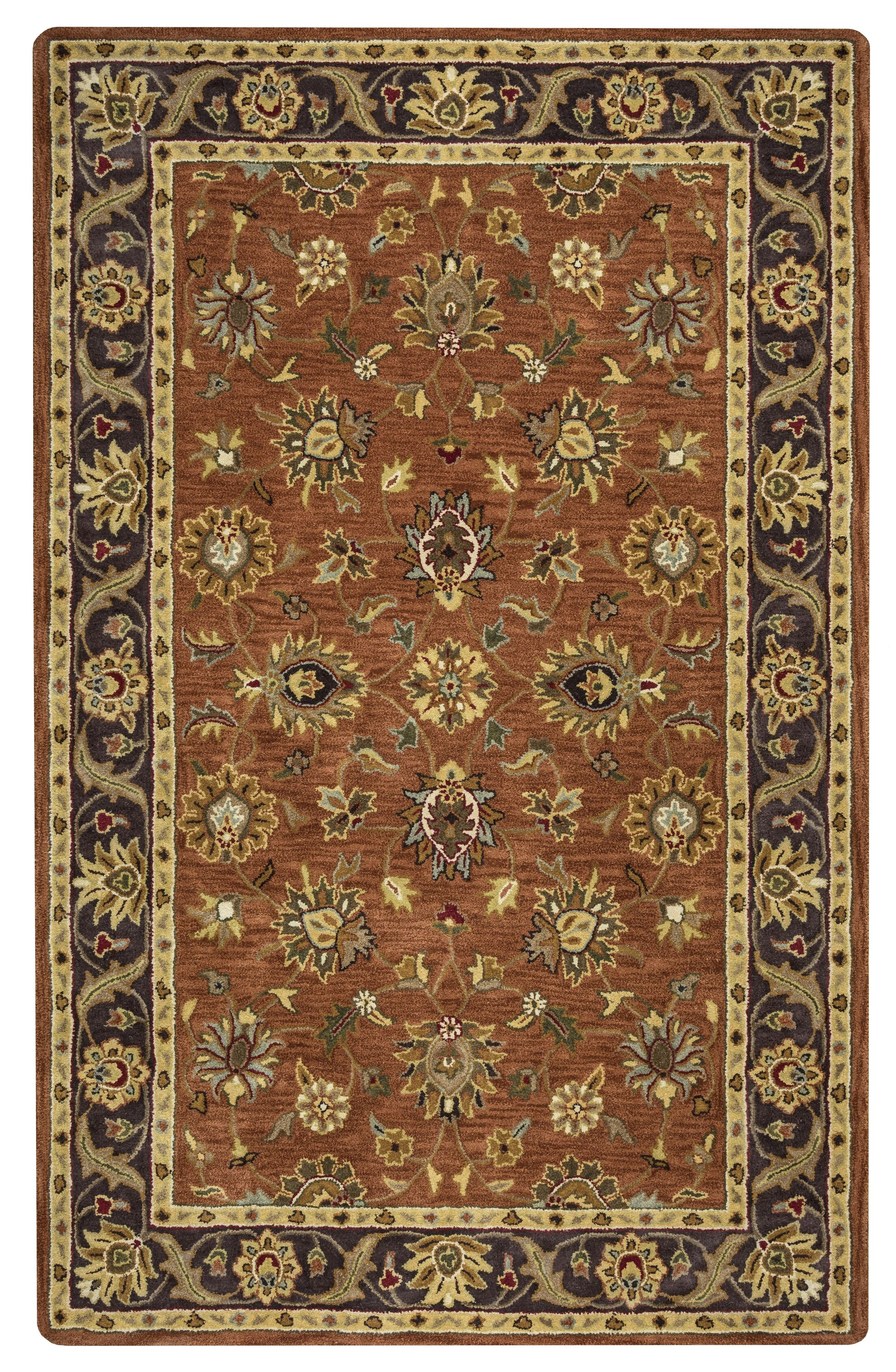Lamothe Hand-Tufted Wool Rust Area Rug Rug Size: Rectangle 5' x 8'