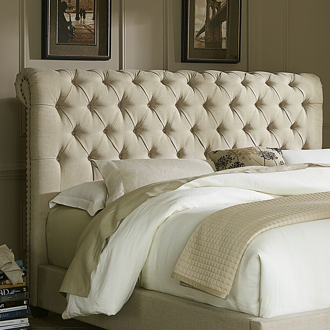 Dellinger Upholstered Sleigh Headboard Size: Queen, Color: Beige