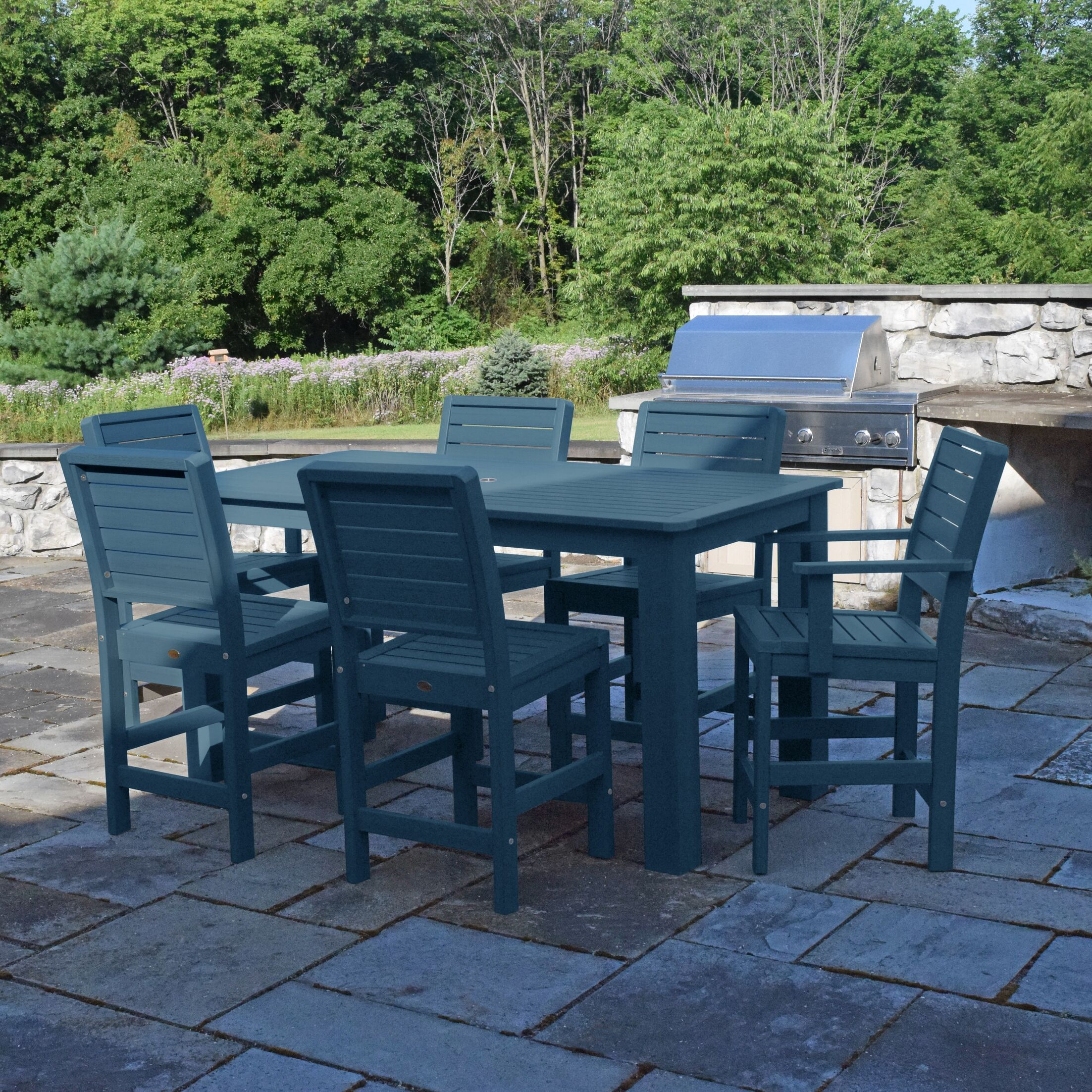 Berry 7 Piece Dining Set Color: Nantucket Blue