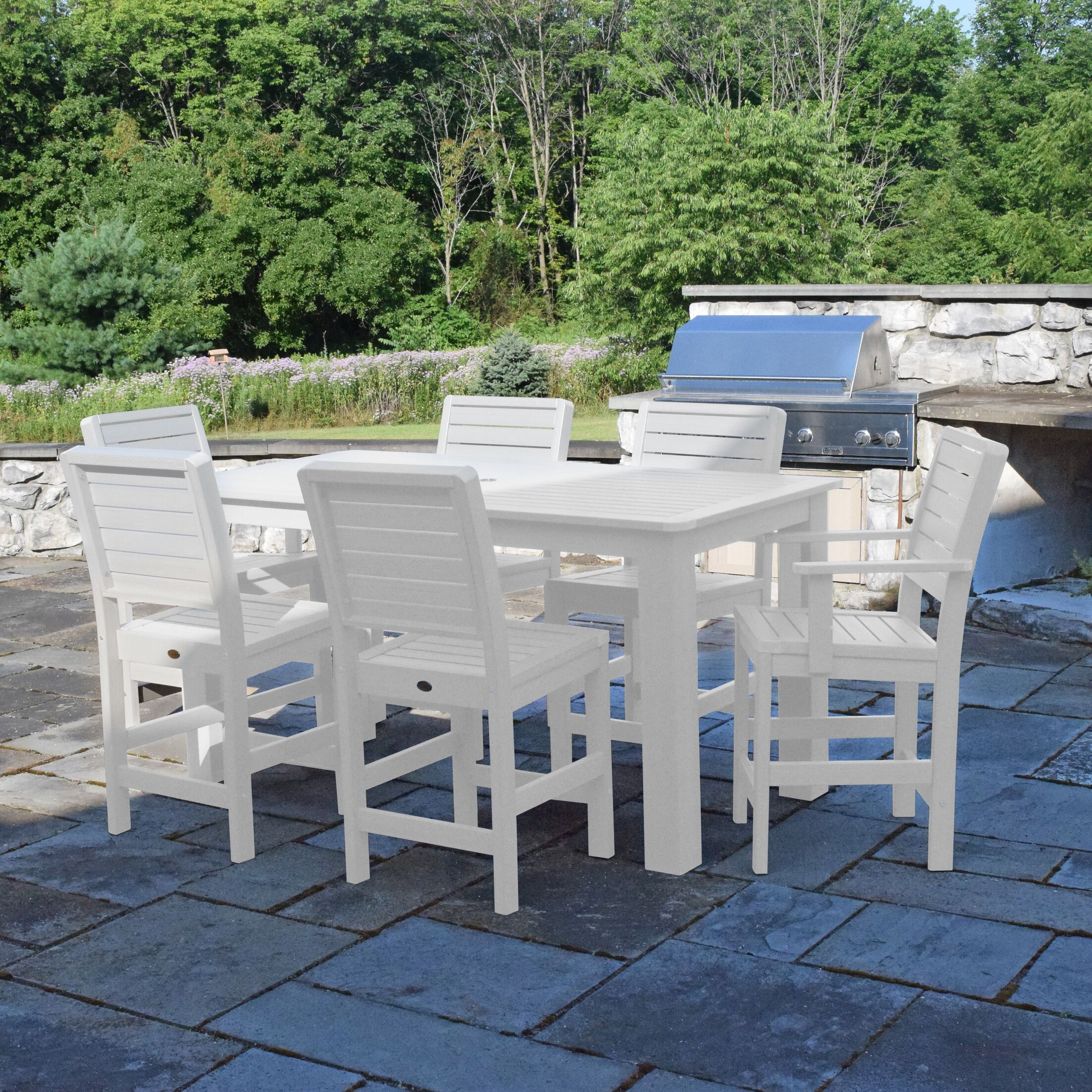 Berry 7 Piece Dining Set Color: White