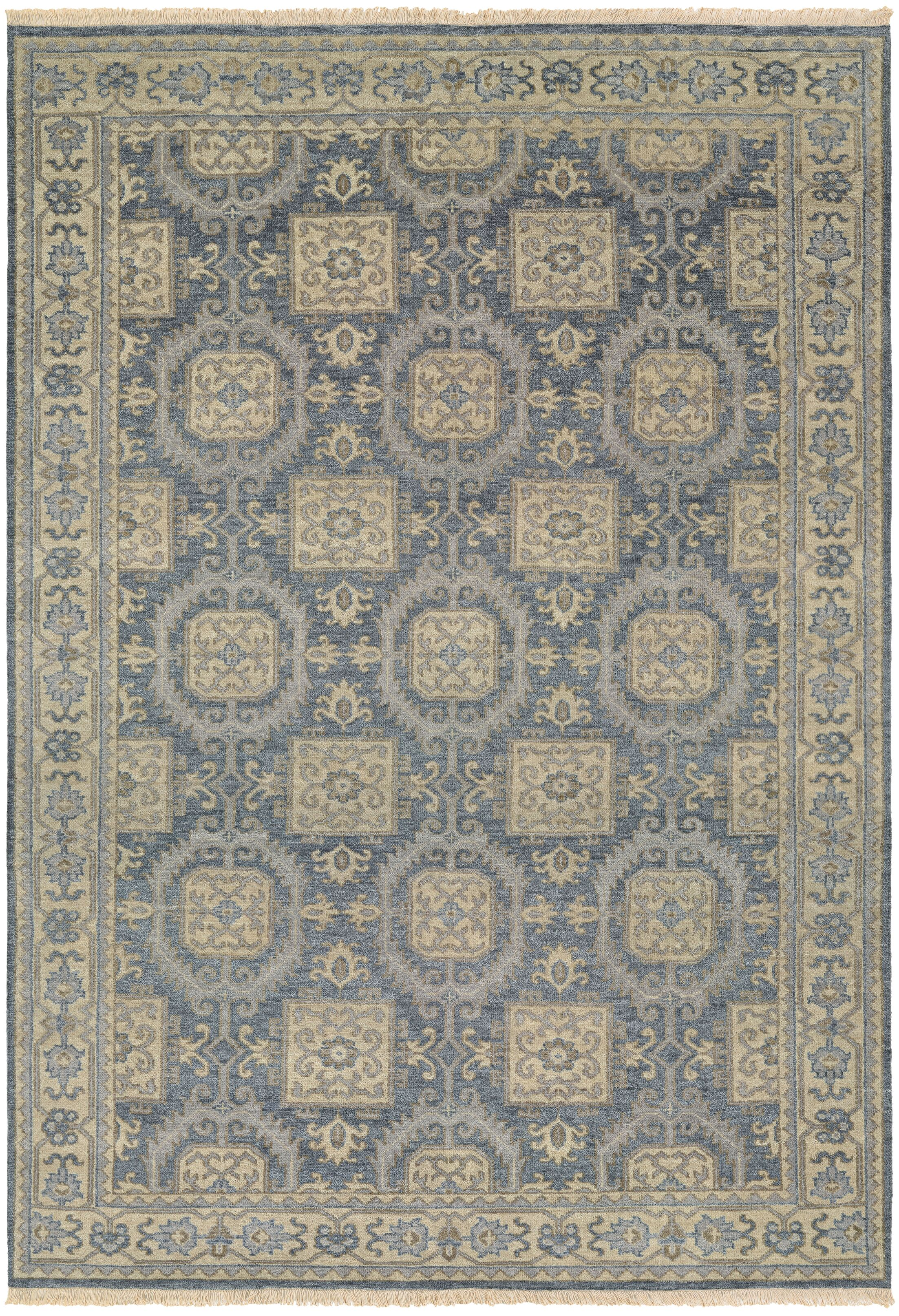 Brian Hand-Knotted Blue/Beige Area Rug Rug Size: Rectangle 5'6