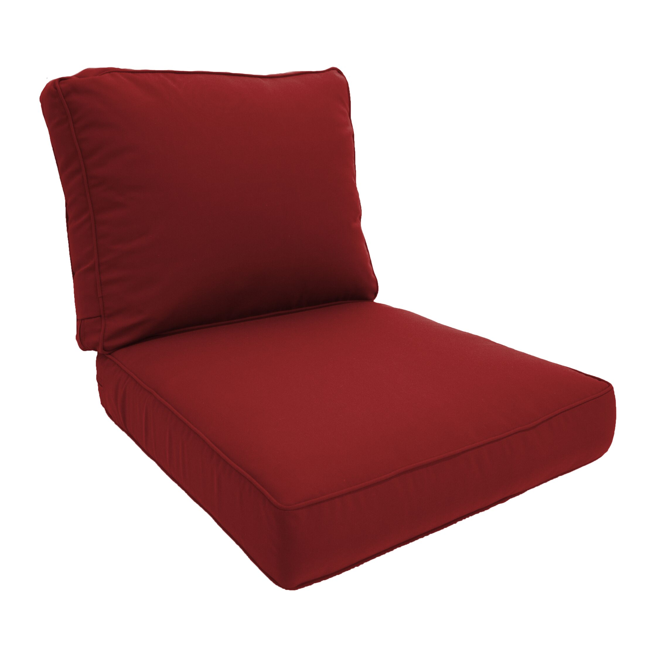 Double Piped Lounge Chair Cushion Fabric: Jockey Red, Size: Small