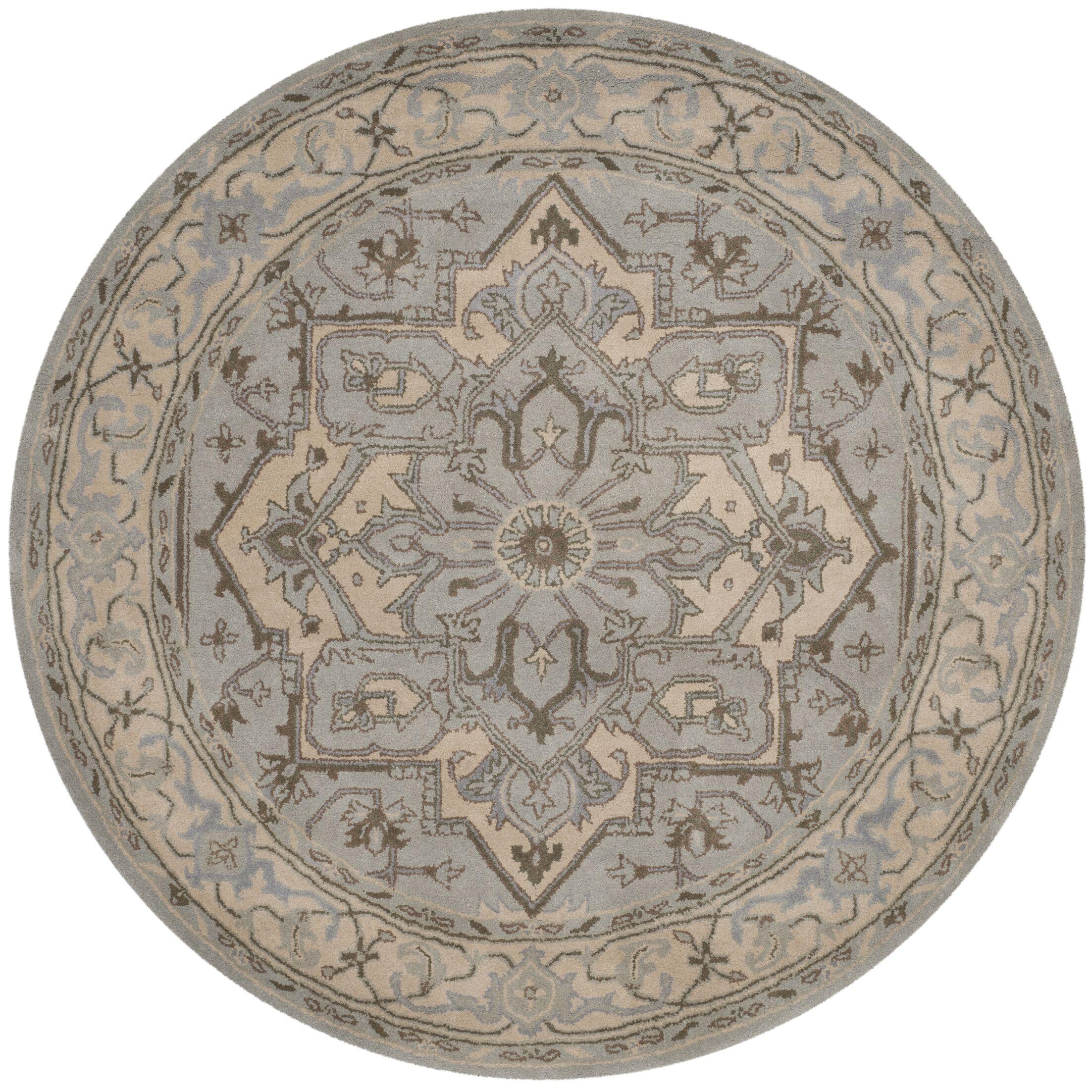 Centralia Beige/Grey Oriental Area Rug Rug Size: 6' Round