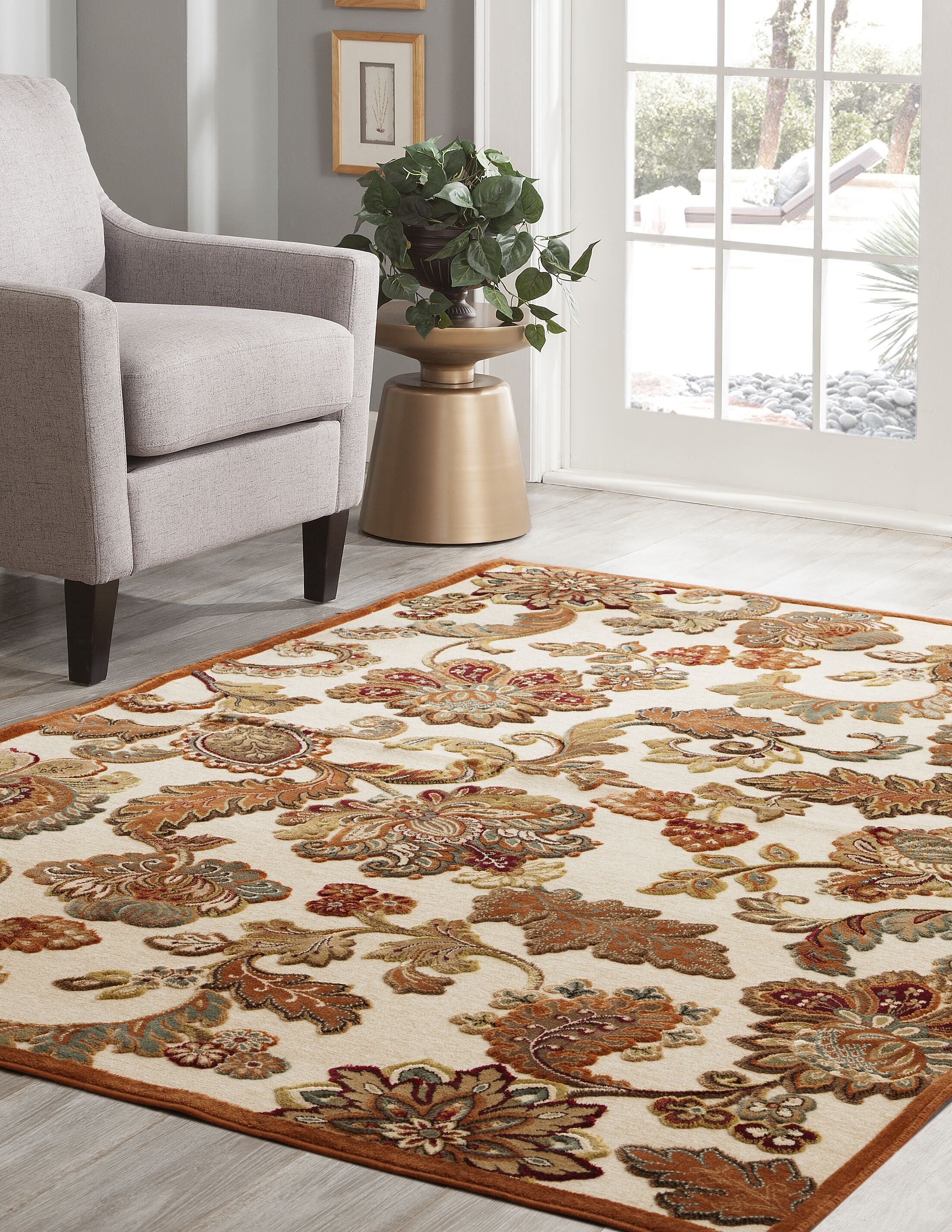 Louisa Ivory/Brown/Tan/Sage Area Rug Rug Size: 7'10