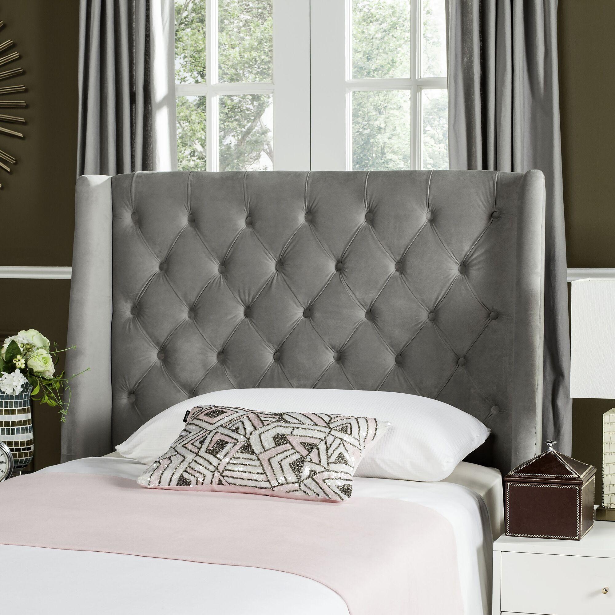Center Trenton Upholstered Wingback Headboard Size: Full, Upholstery: Velvet Pewter