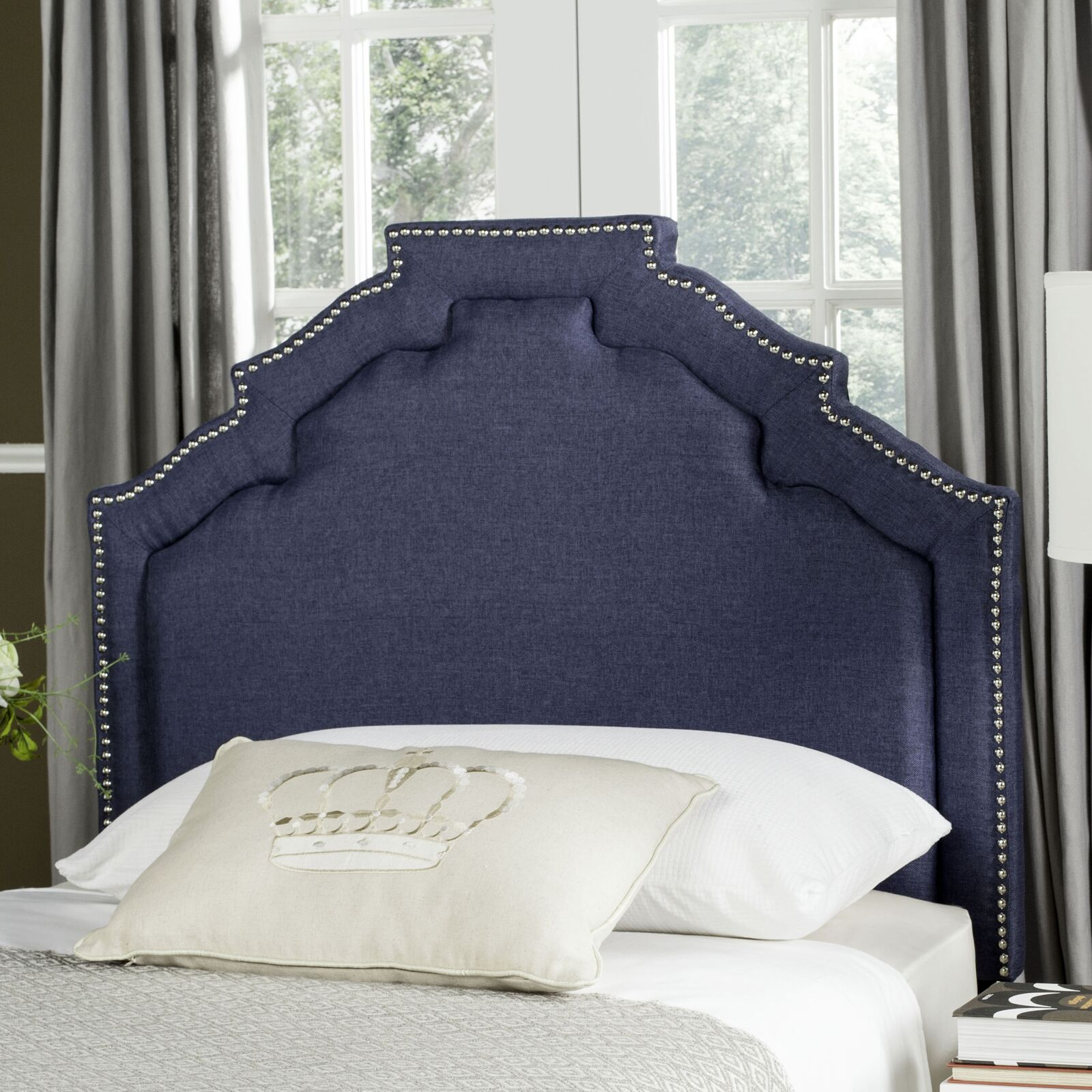 Parsonsfield Upholstered Panel�Headboard Size: Twin, Upholstery: Linen Steel Blue