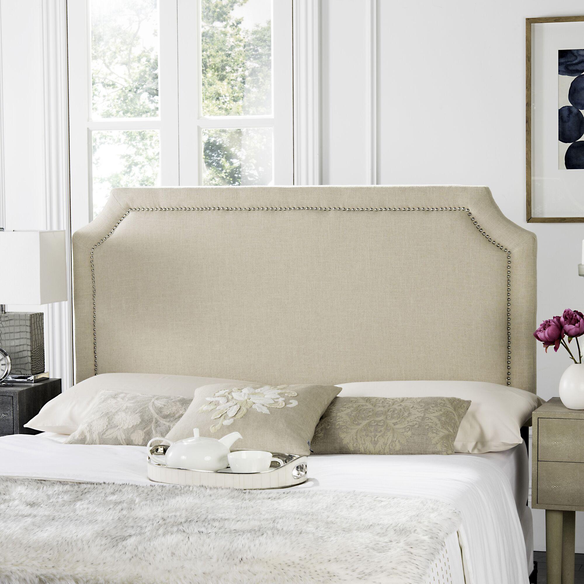 Millington Upholstered Panel Headboard Size: Full, Upholstery: Linen Hemp