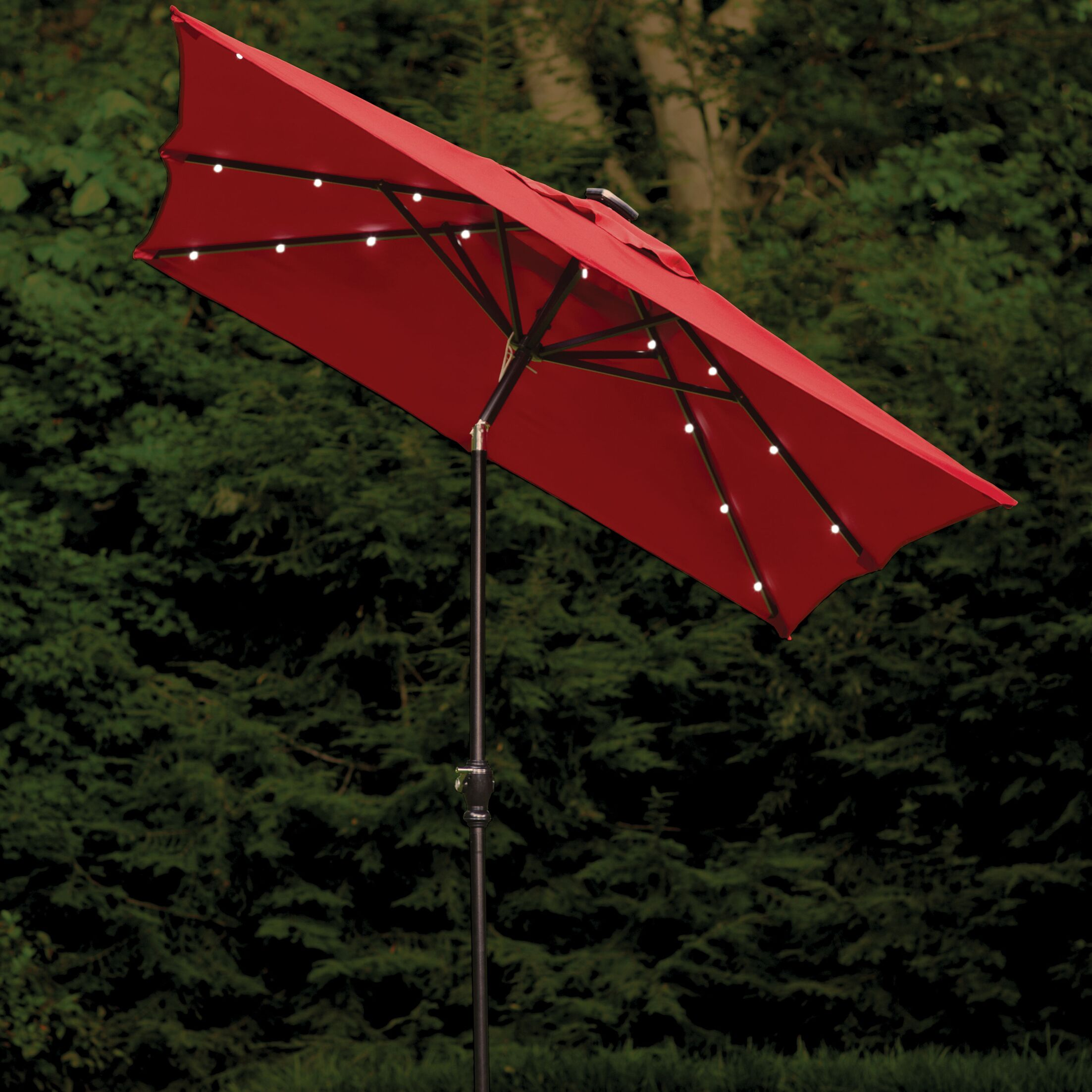 Allston 9' X 7' Rectangular Lighted Umbrella Color: Scarlet