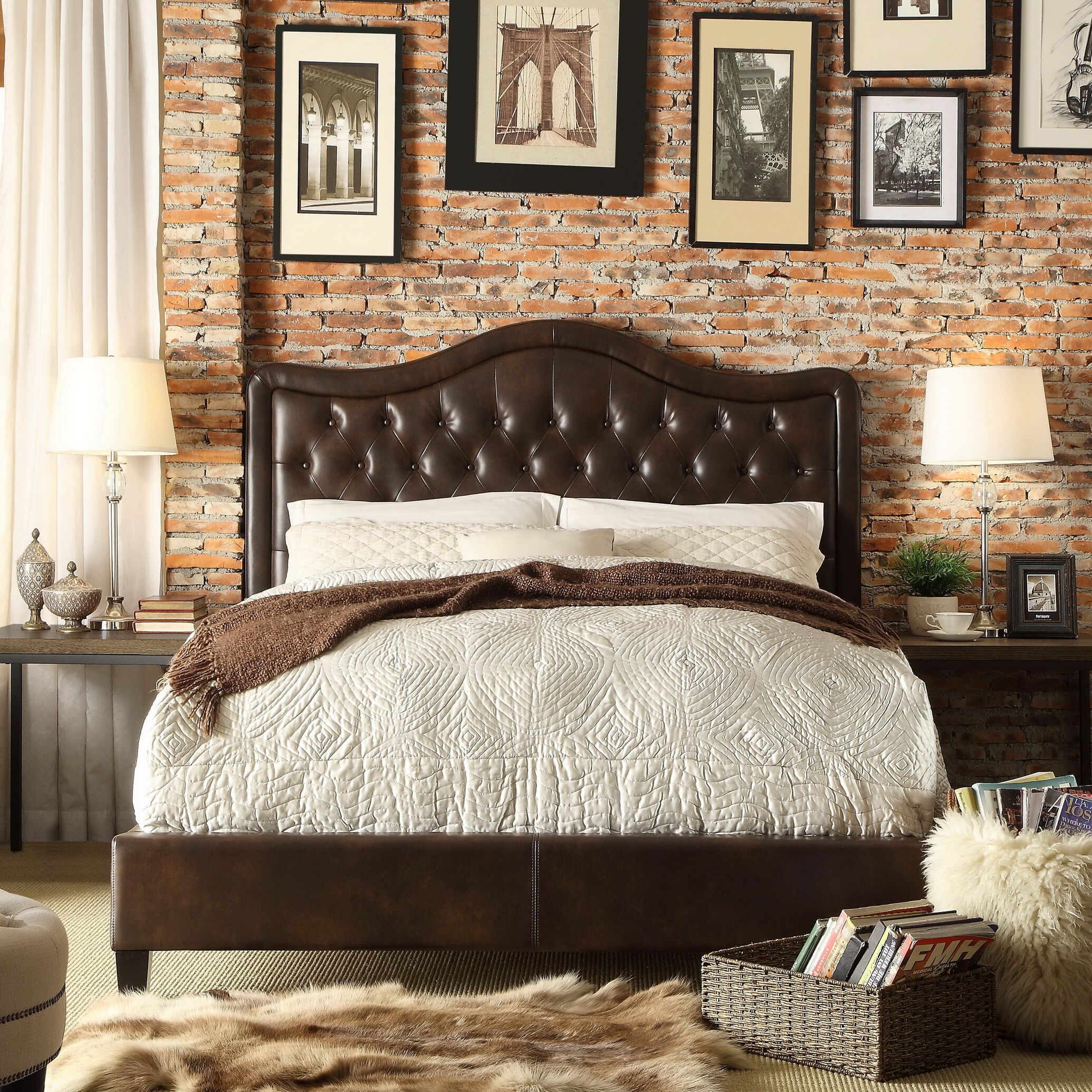 Turin Upholstered Platform Bed Size: Queen, Color: Espresso, Upholstery Type: Leather