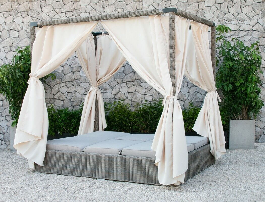 Naperville Double Chaise Lounge with Cushion Fabric: Gray