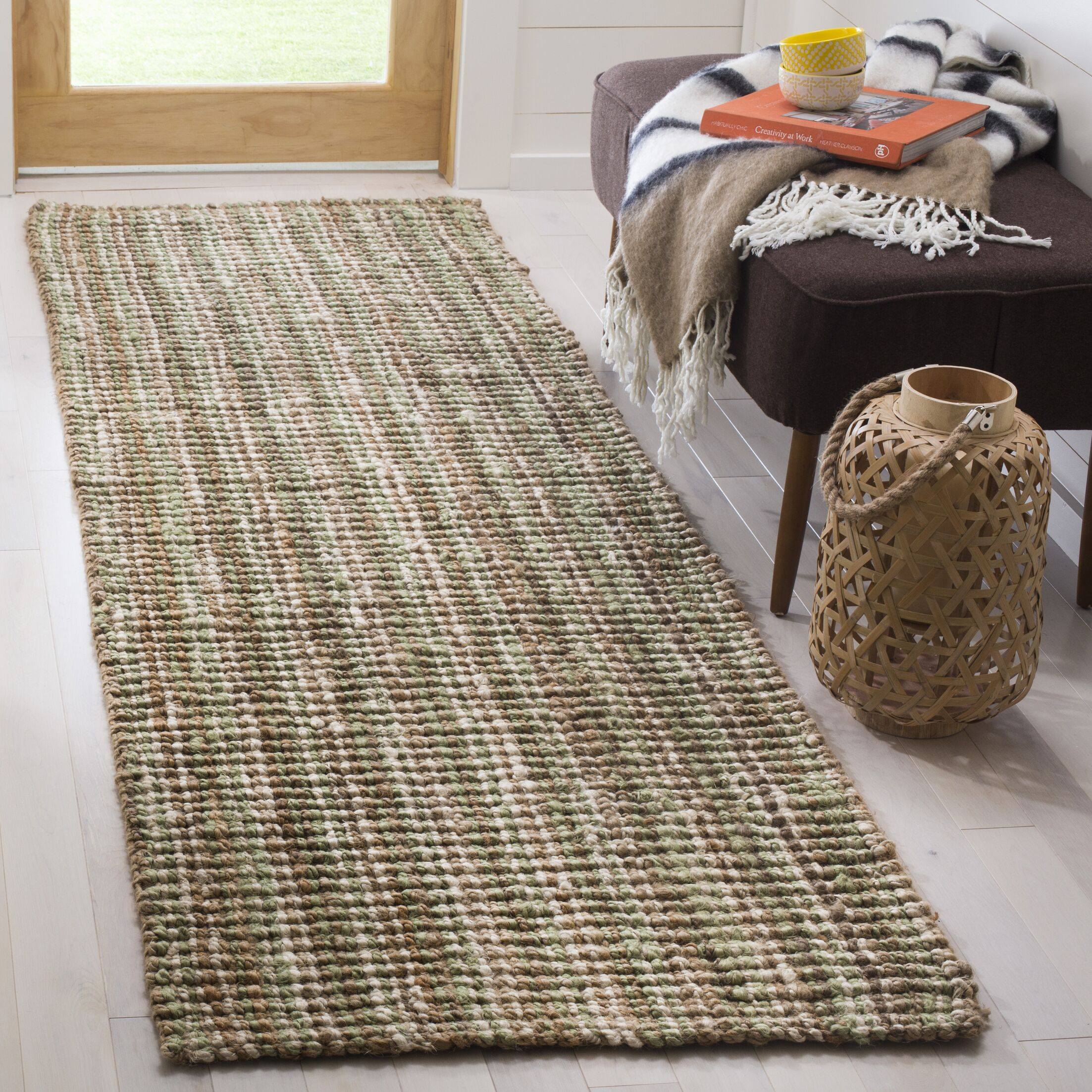 Bergeson Hand-Woven Sage/Natural Area Rug Rug Size: Runner 2'6
