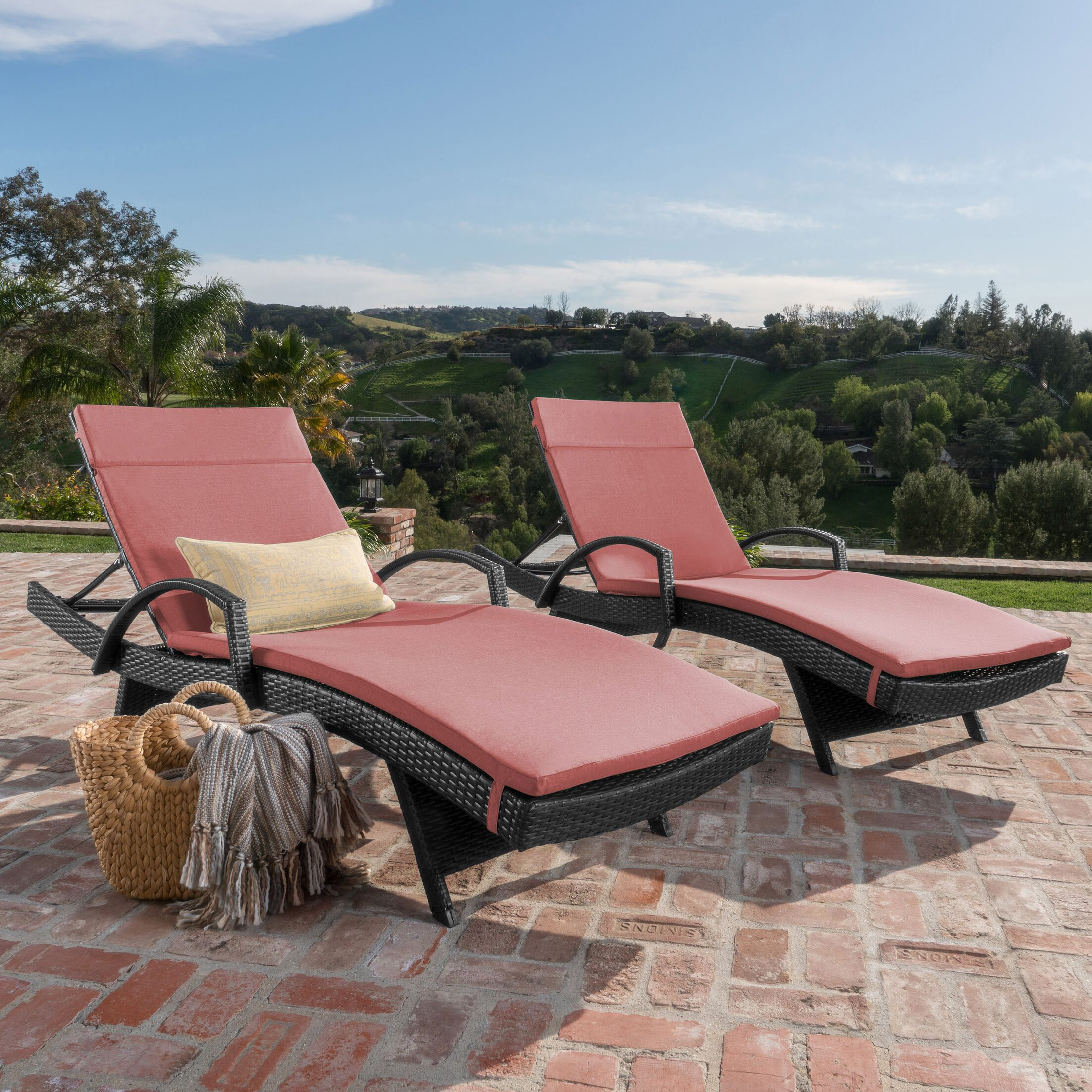 Acad Outdoor Wicker Arm Chaise Lounge Fabric: Red