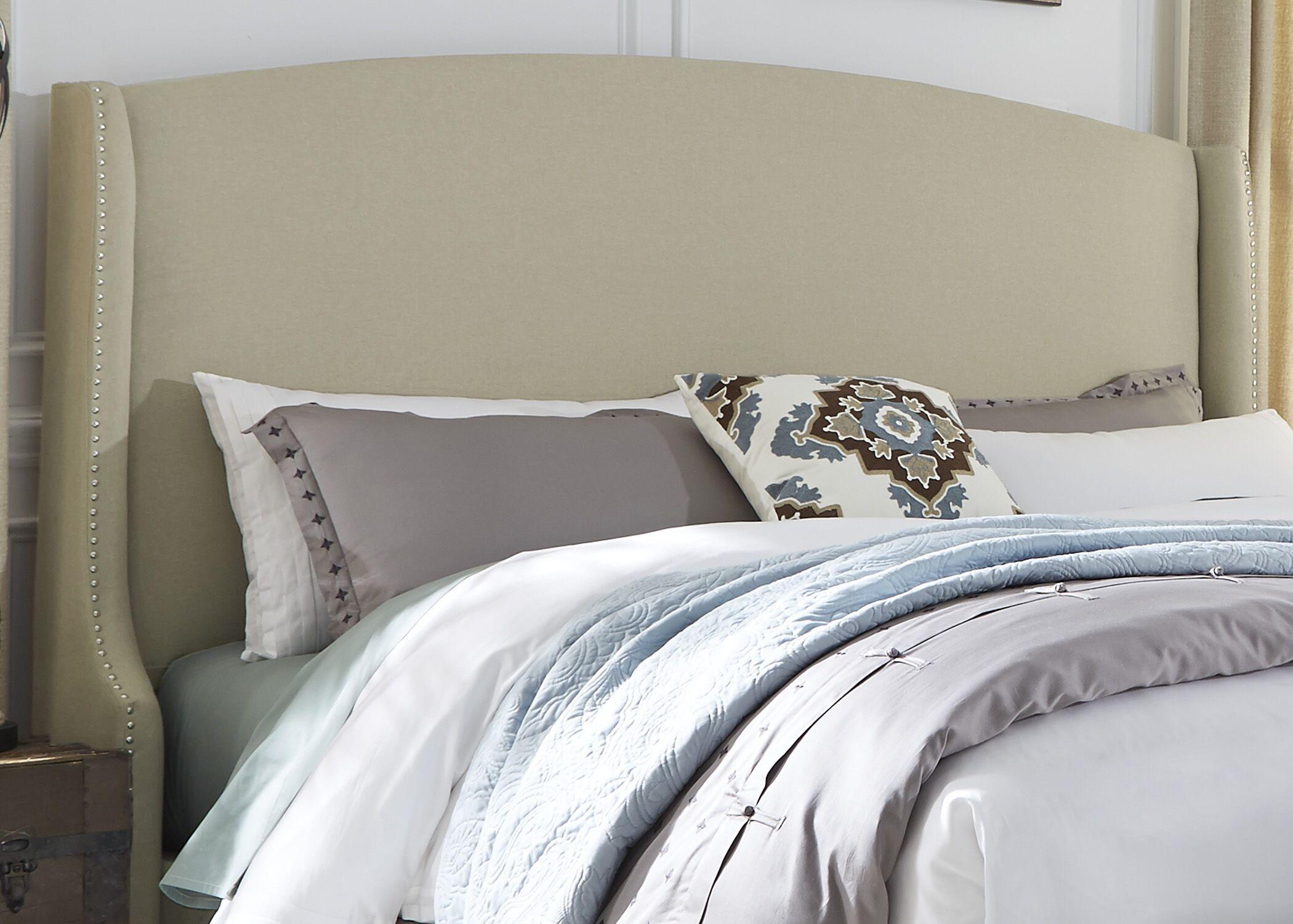 Dellinger Wing Shelter Upholstered Wingback Headboard Upholstery: Beige, Size: King