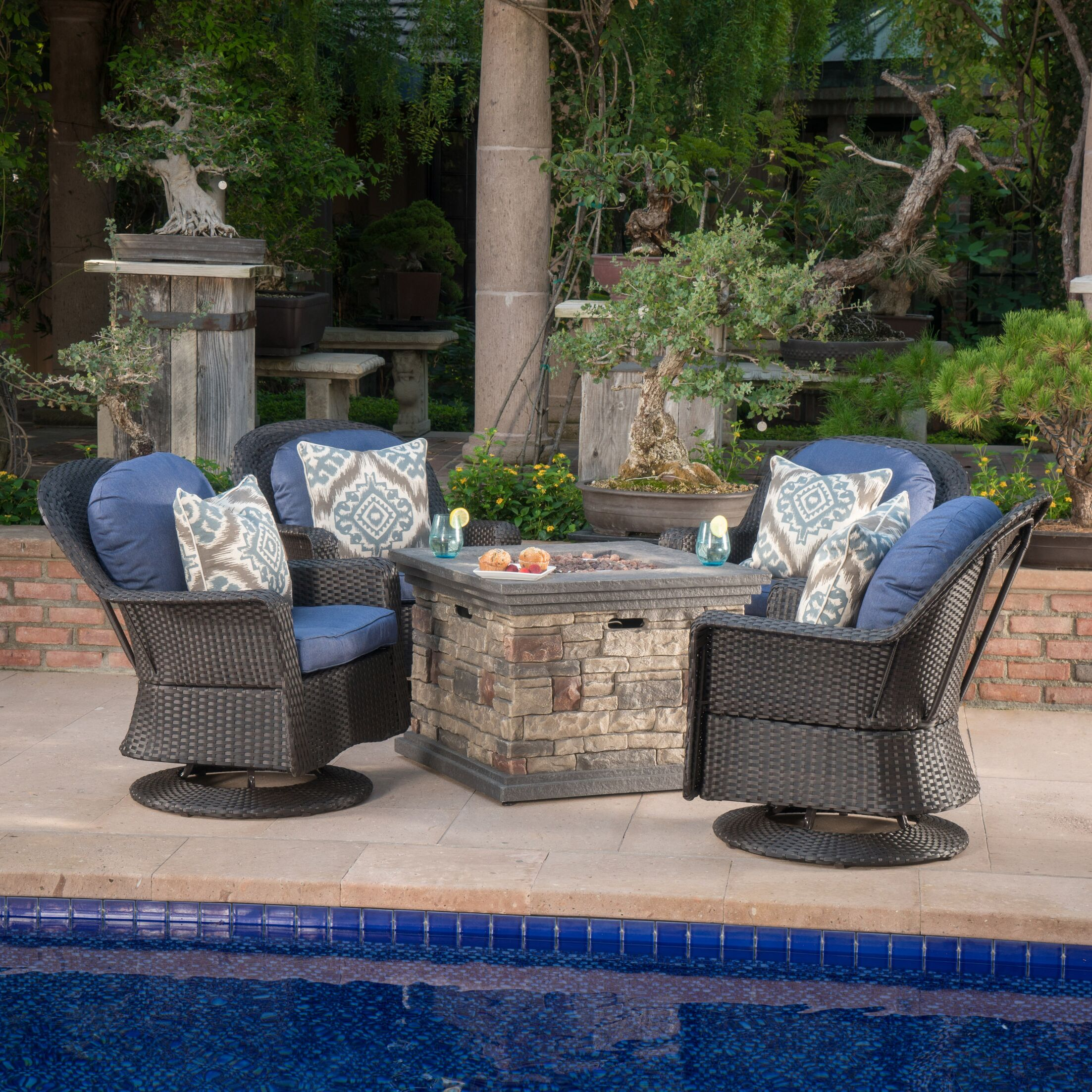 Rossville 5 Piece Rattan Conversation Set with Cushions Frame Color: Dark Brown