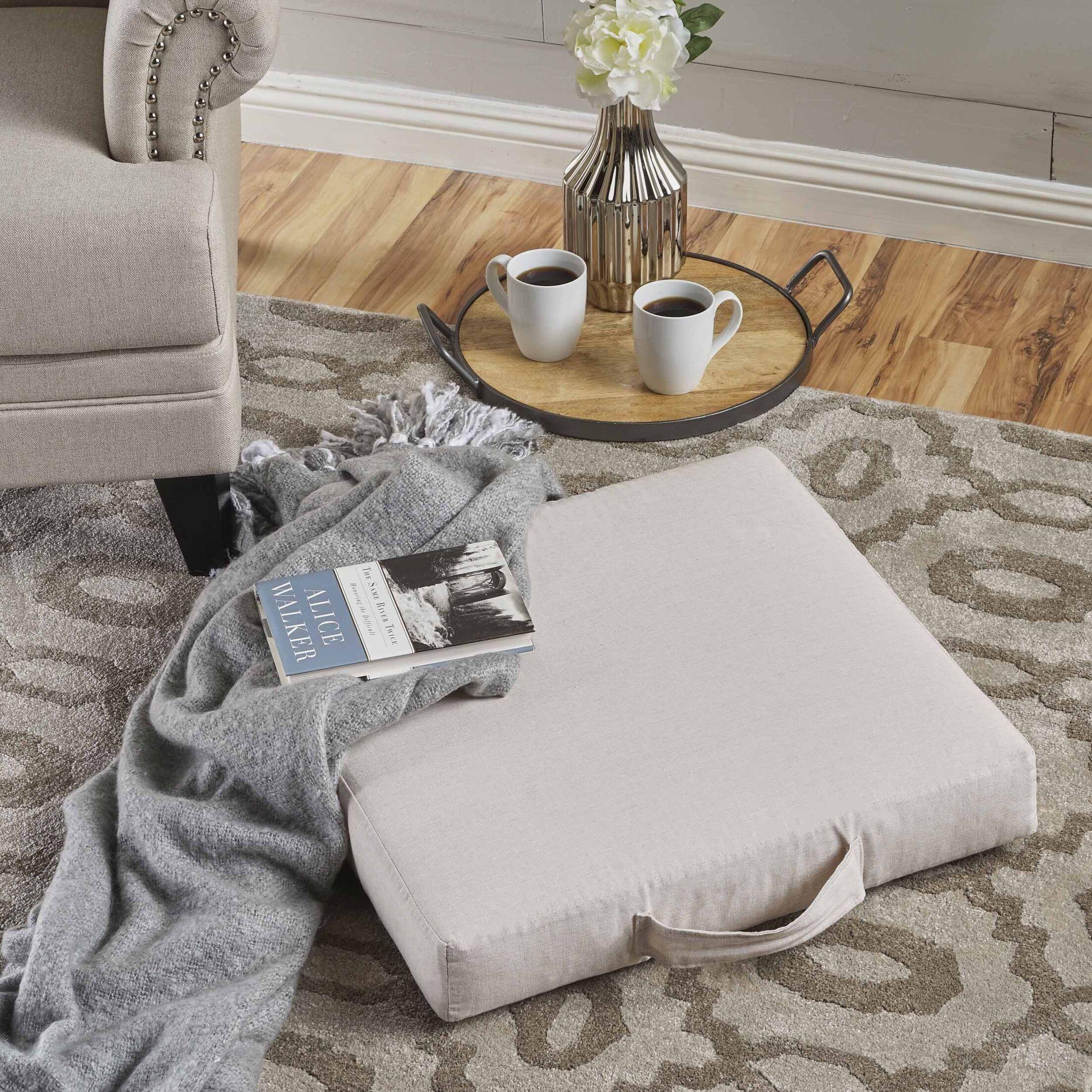 Garlan Linen Floor Pillow Color: Natural