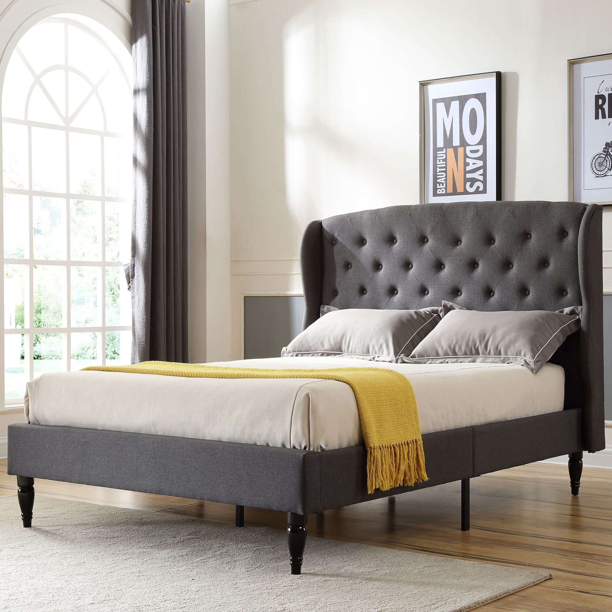 Nilah Upholstered Platform Bed Size: Full/Double, Color: Gray
