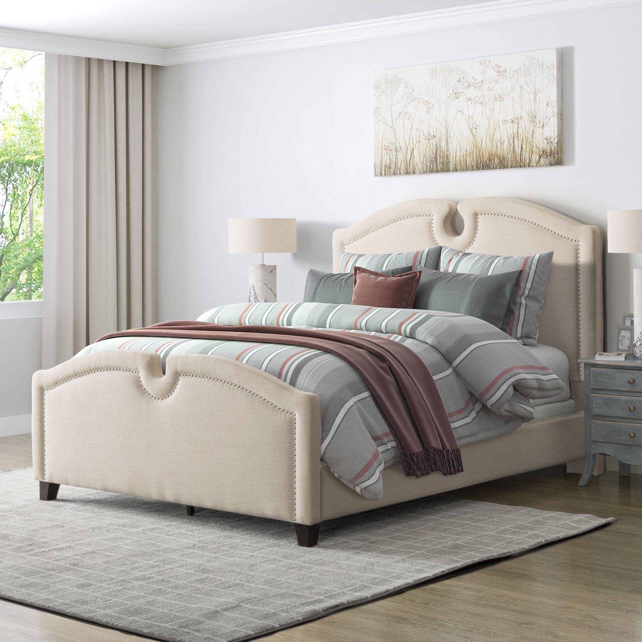 Debord Curved Top Upholstered Panel Bed Size: Full, Color: Cream