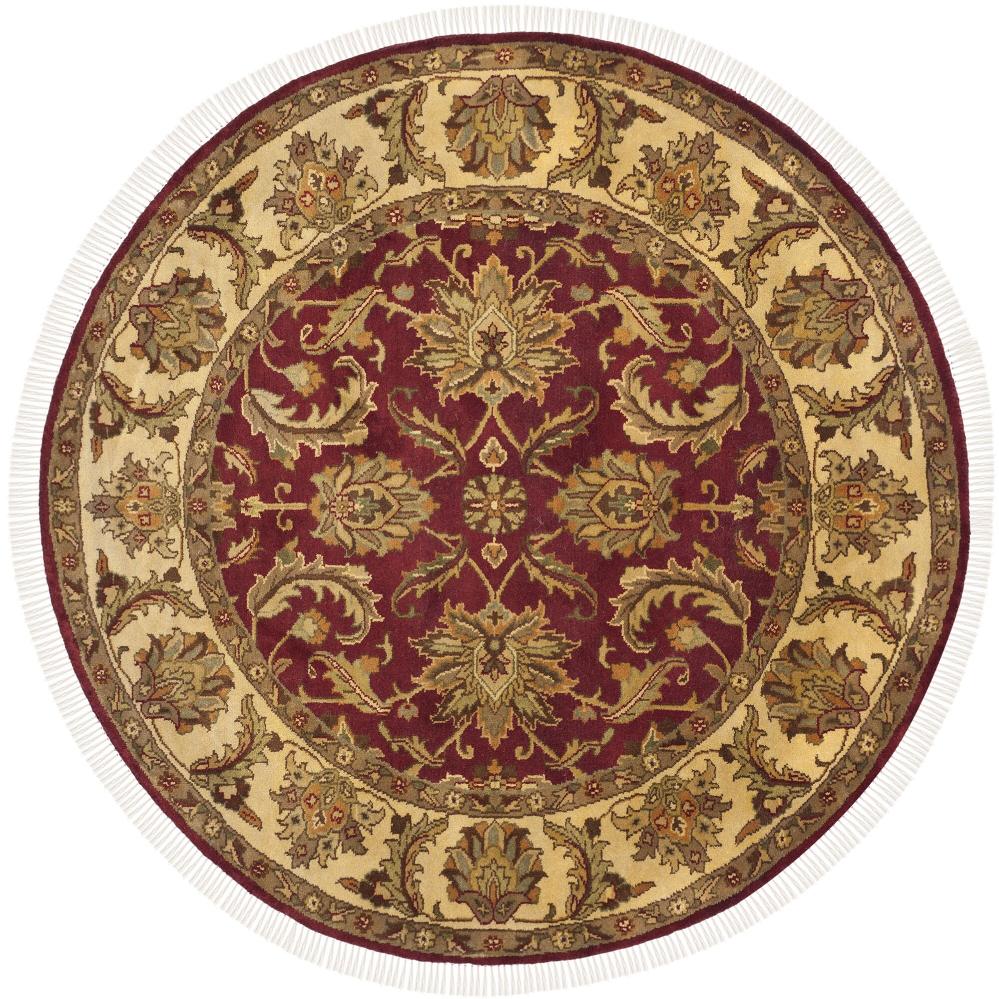 Hindsboro Tufted Wool Red/Gold Area Rug Rug Size: Round 6'
