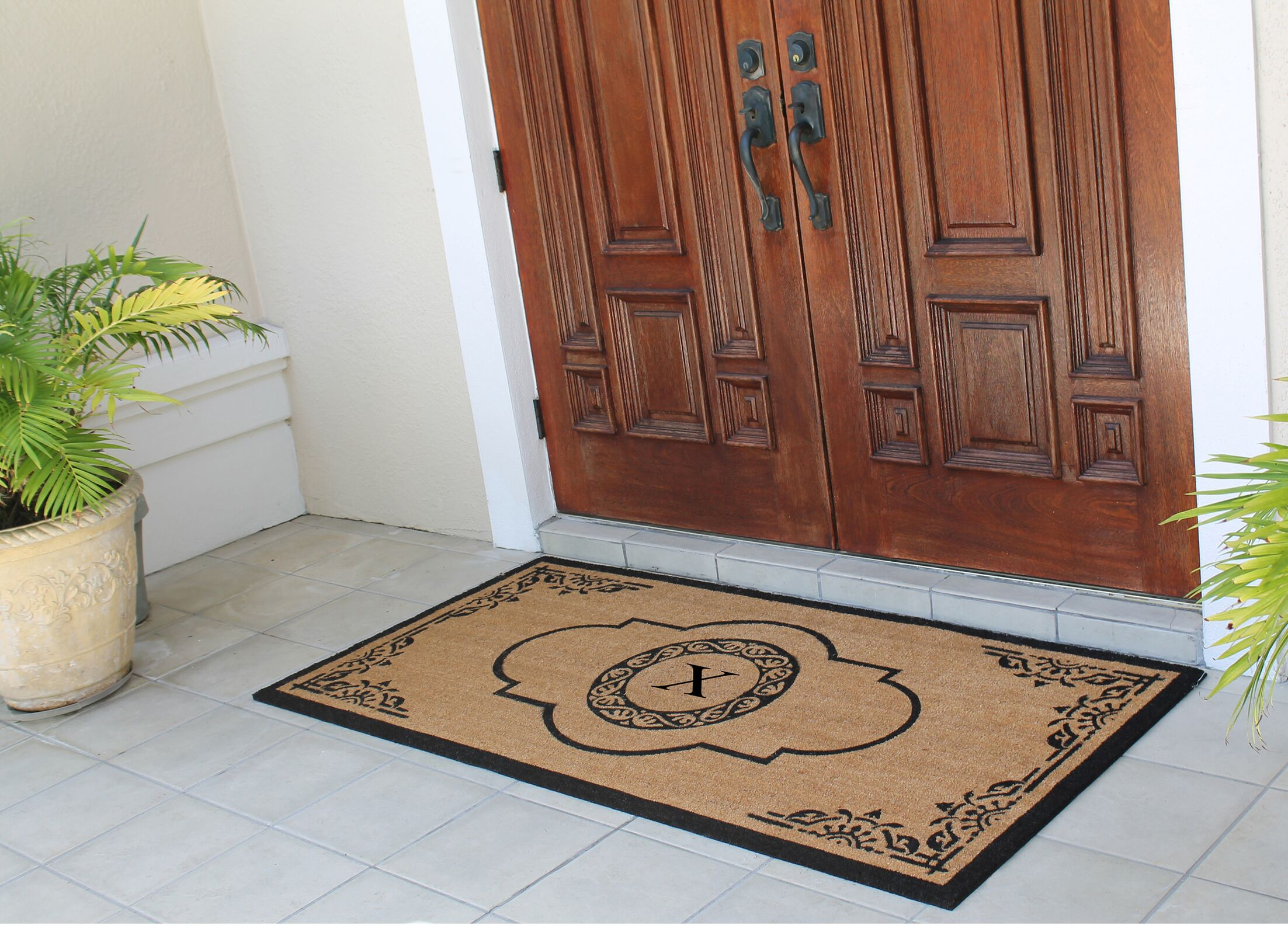 Issac First Impression Hand Crafted X-Large Abrilina Entry Coir Monogrammed Double Doormat Letter: X