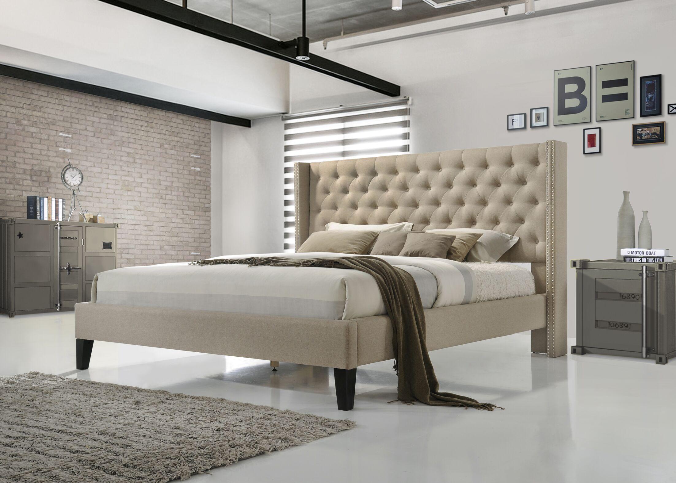 Kathrine Upholstered Platform Bed Size: Queen, Color: Beige