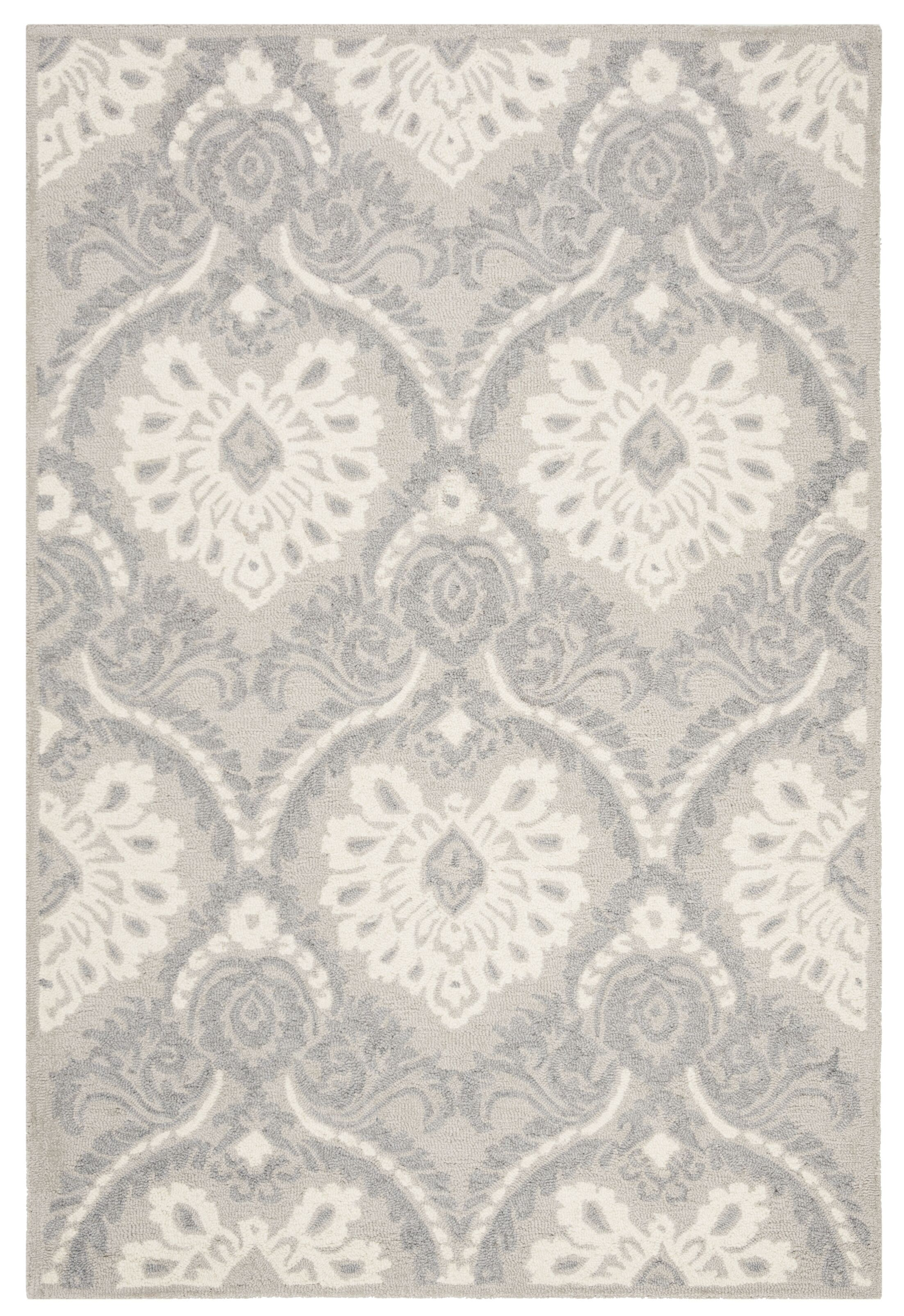 Bevis Hand Tufted Wool Light Gray Area Rug Rug Size: Rectangle 4' x 6'