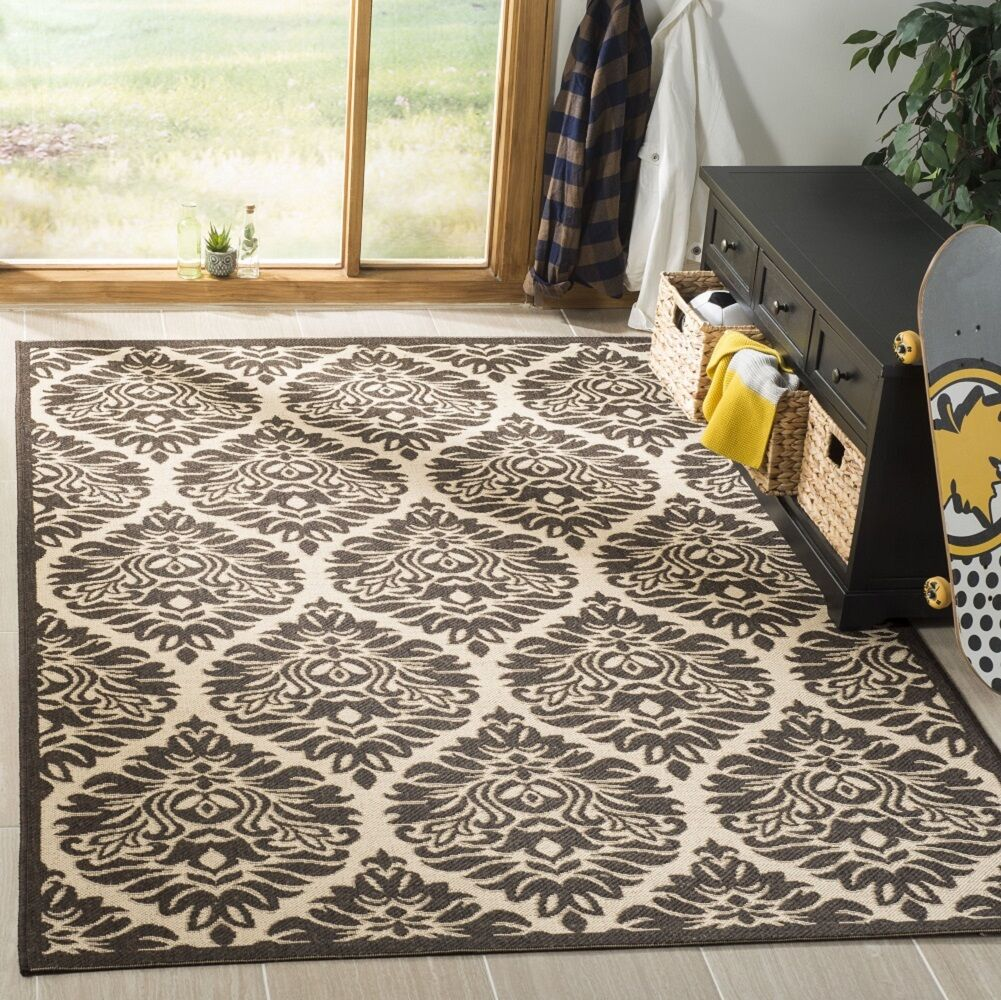 Sherell Cream/Brown Area Rug Rug Size: Rectangle 9' x 12'