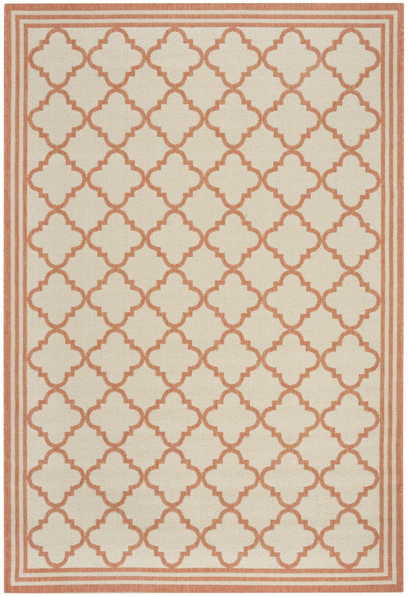 Berardi Cream/Rust Area Rug Rug Size: Rectangle 5'1