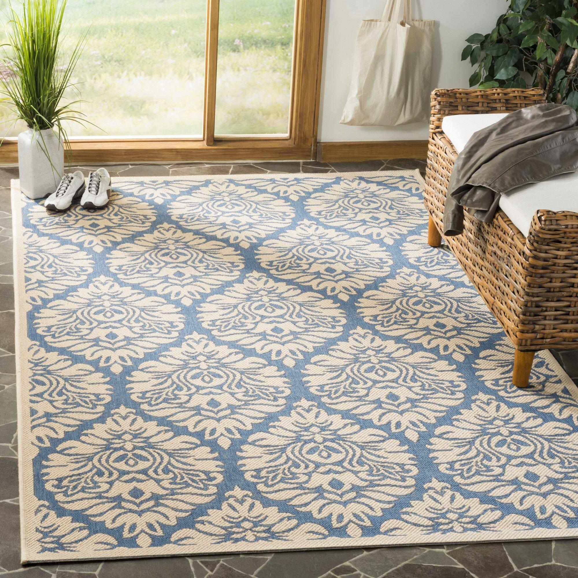 Berardi Blue/Cream Area Rug Rug Size: Square 6'7