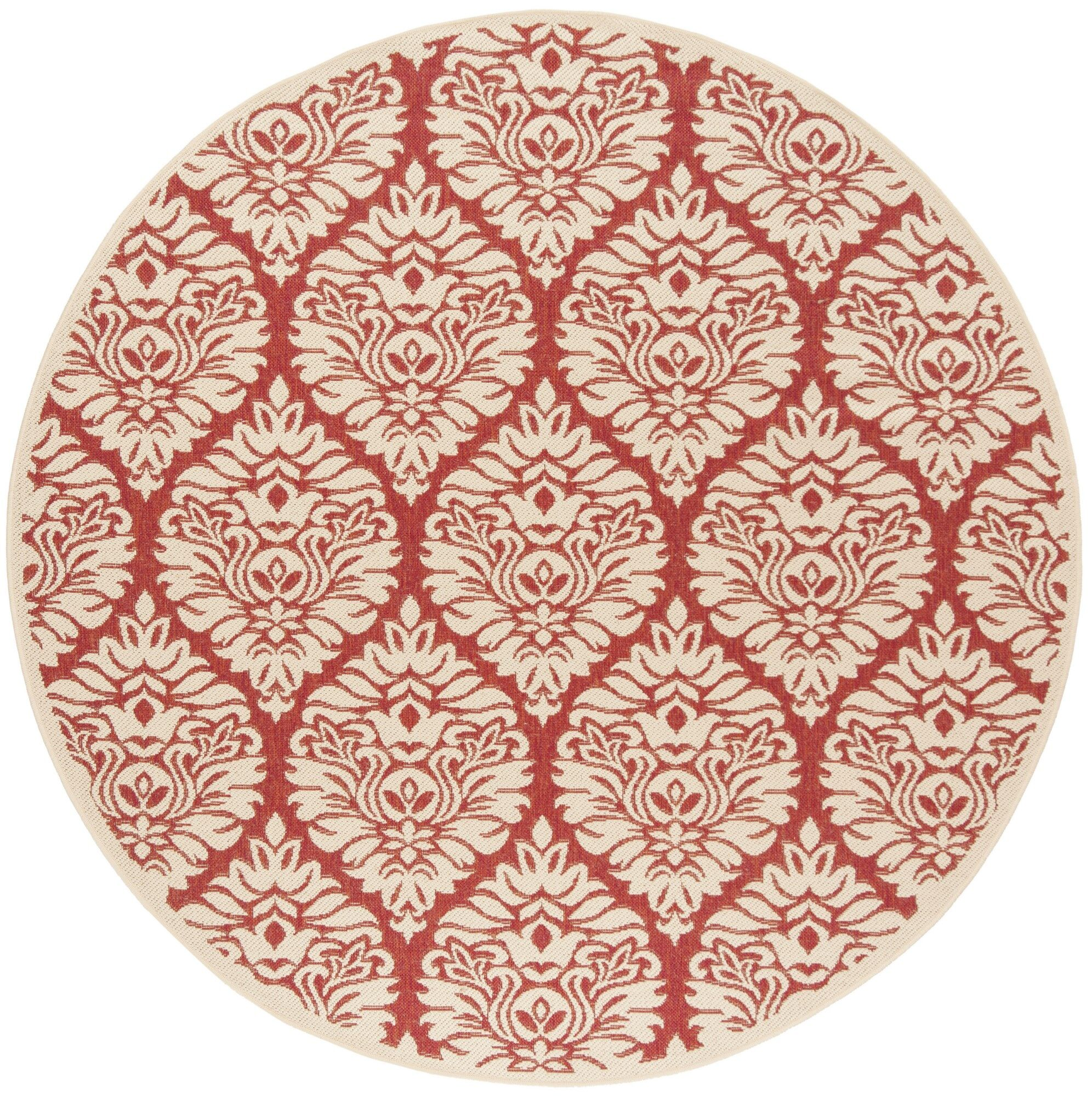 Dreher Red/Creme Area Rug Rug Size: Round 6'7