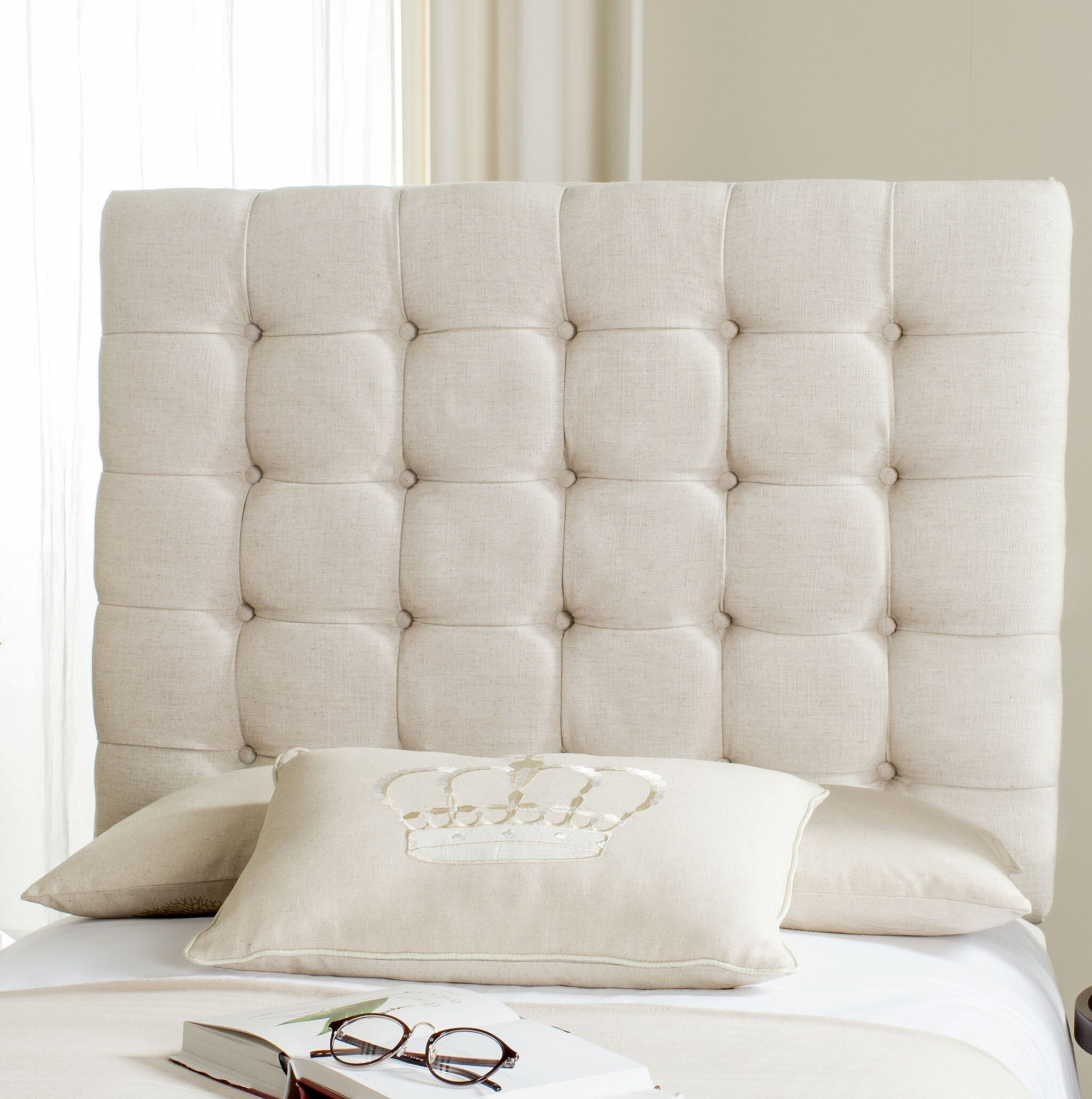 Fitch Upholstered Panel Headboard Size: Queen, Upholstery: Polyester Wheat
