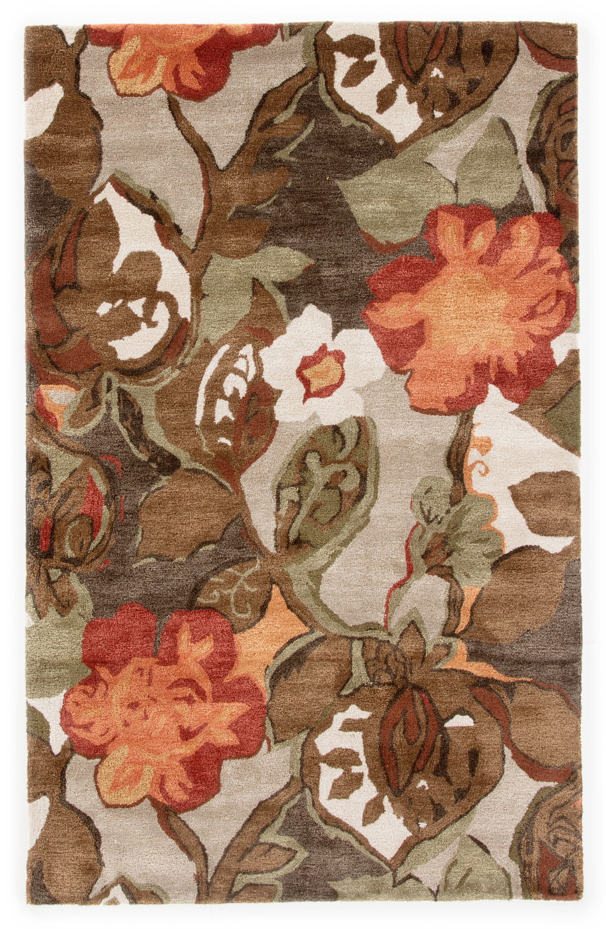 Gustin Brown/Orange Area Rug Rug Size: Rectangle 2' x 3'