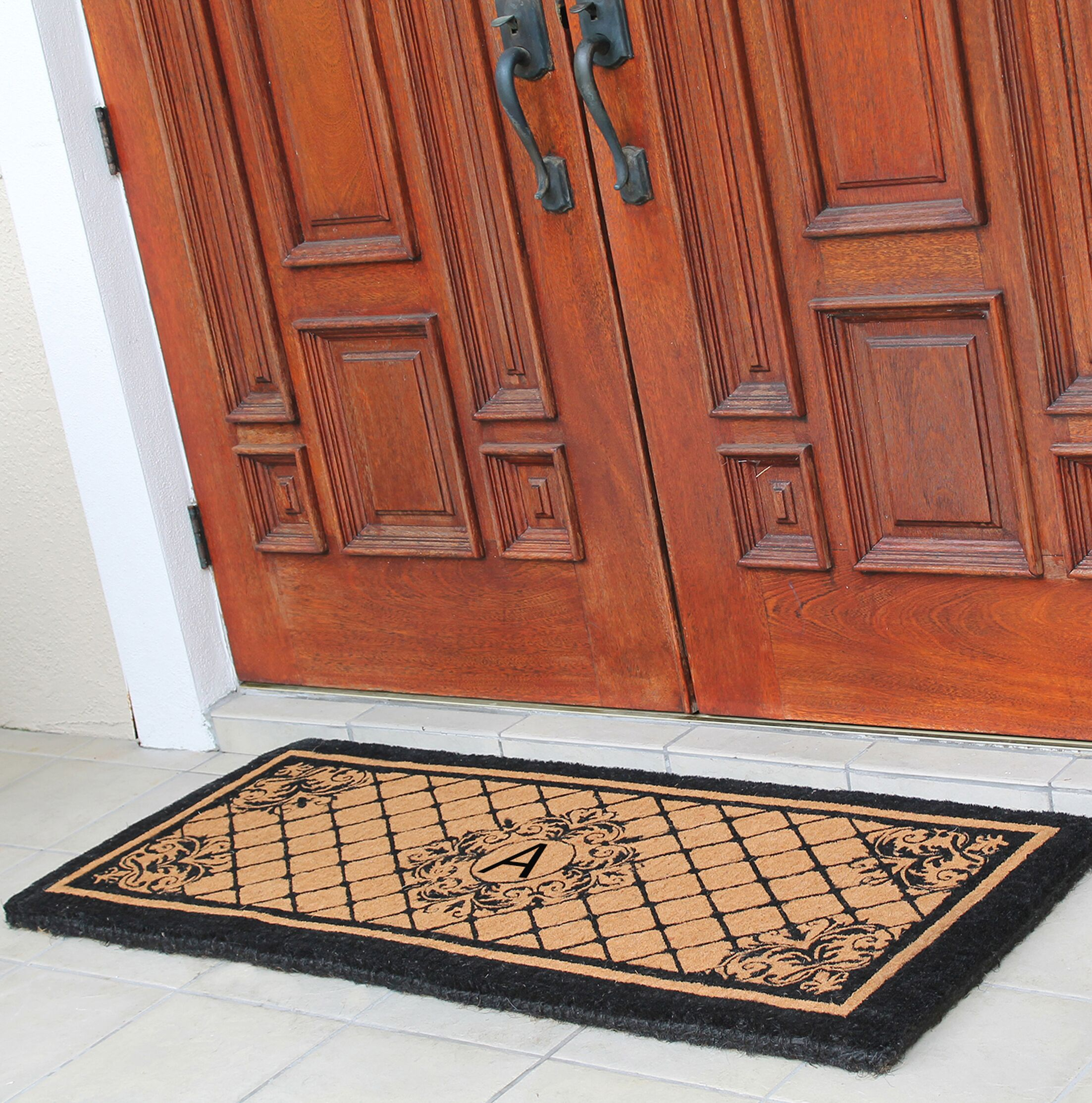 Hedvige Entry Monogrammed Double Doormat Letter: A