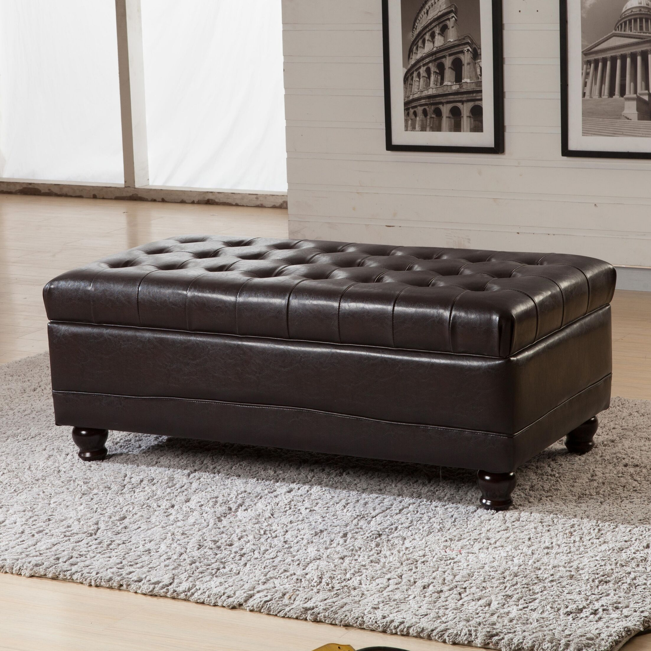 Dail Storage Ottoman Upholstery: Brown