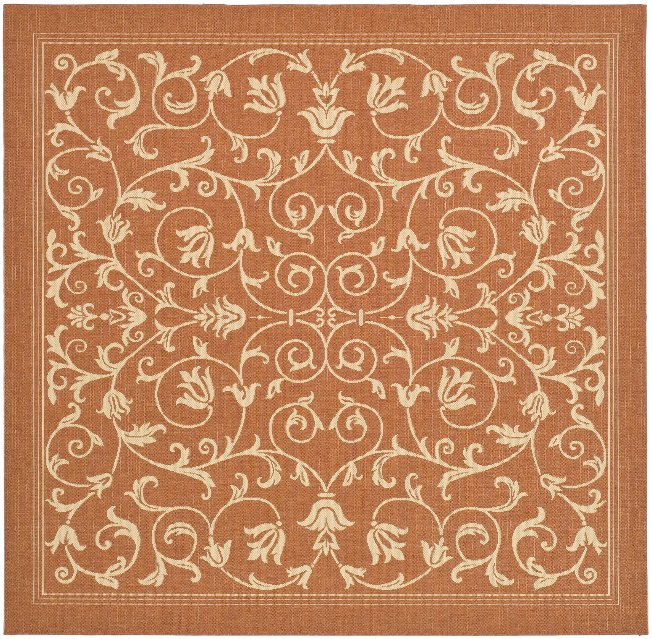 Bexton Persian Terracotta/Natural Indoor/Outdoor Area Rug Rug Size: Square 6'7