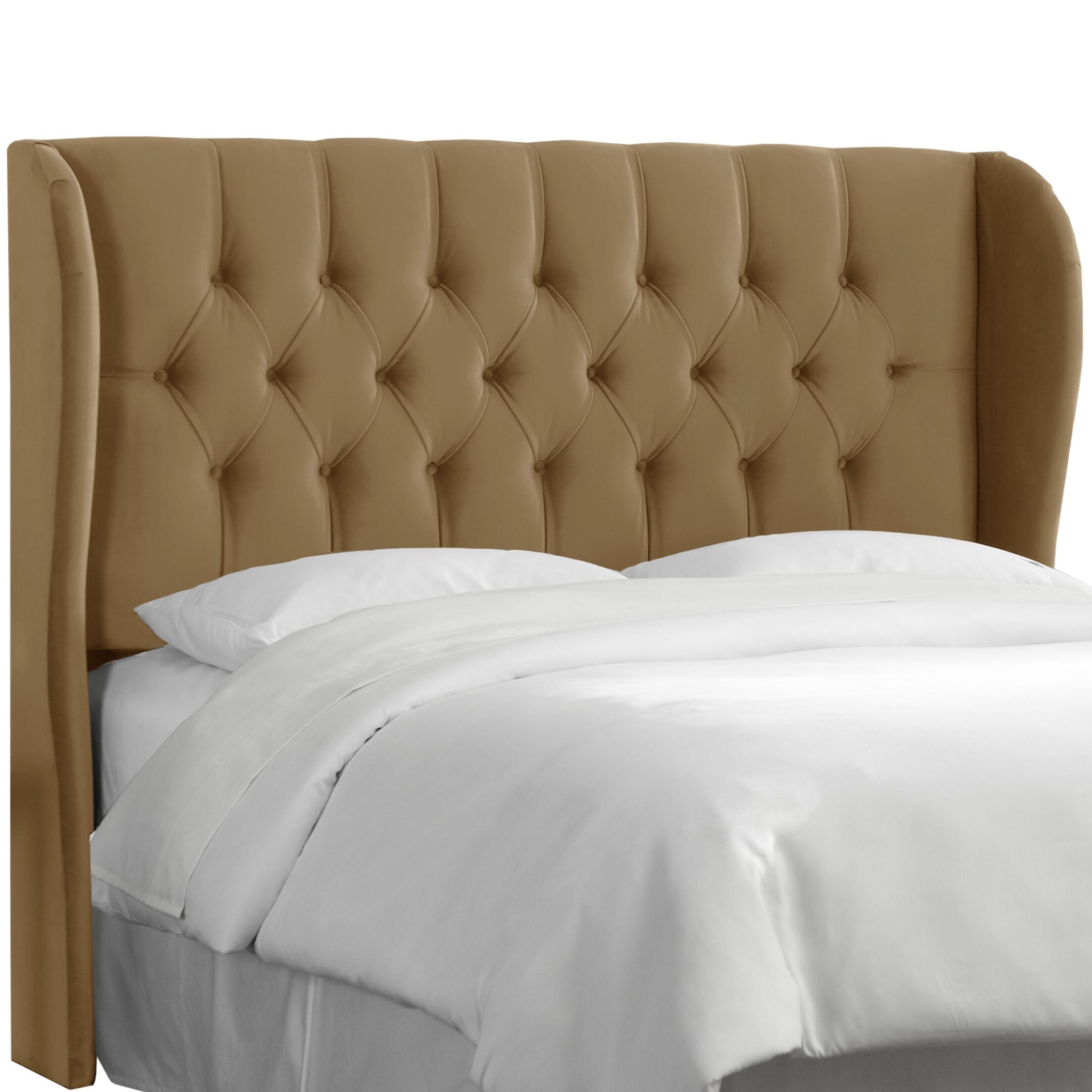 Upholstered Wingback Headboard Upholstery: Regal Sand, Size: King